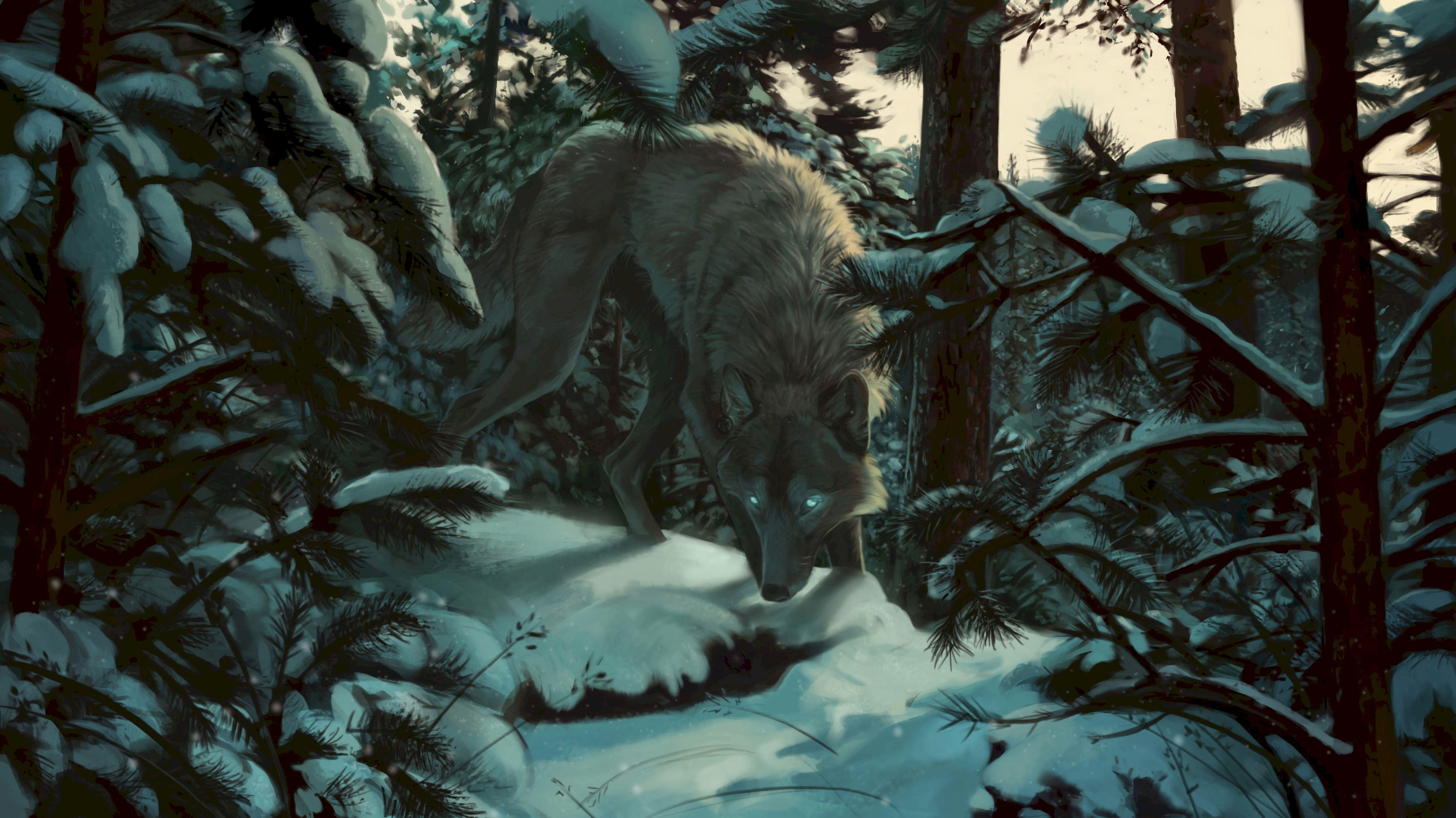 113444 Hintergrundbild herunterladen Bäume, Kunst, Schnee, Wald, Raubtier, Predator, Wolf - Bildschirmschoner und Bilder kostenlos