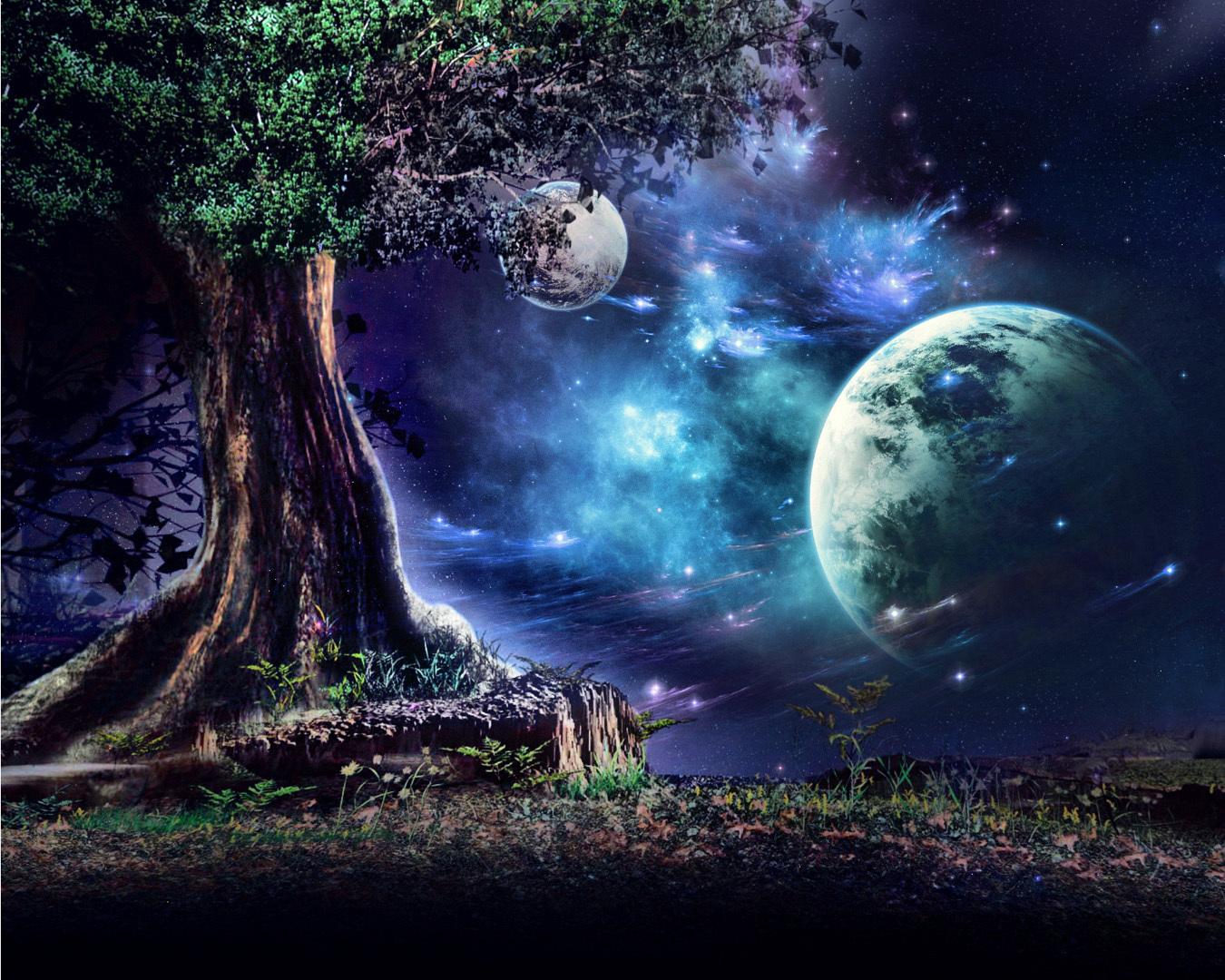 49141 Hintergrundbild herunterladen Fantasie, Landschaft, Natur, Bäume, Mond - Bildschirmschoner und Bilder kostenlos