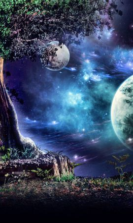 49141 скачать обои Пейзаж, Природа, Деревья, Фэнтези, Луна - заставки и картинки бесплатно