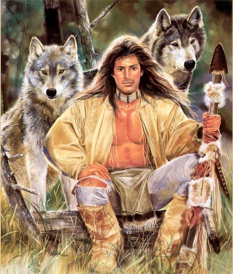 14246 Hintergrundbild herunterladen Wölfe, Tiere, Menschen, Männer, Bilder - Bildschirmschoner und Bilder kostenlos