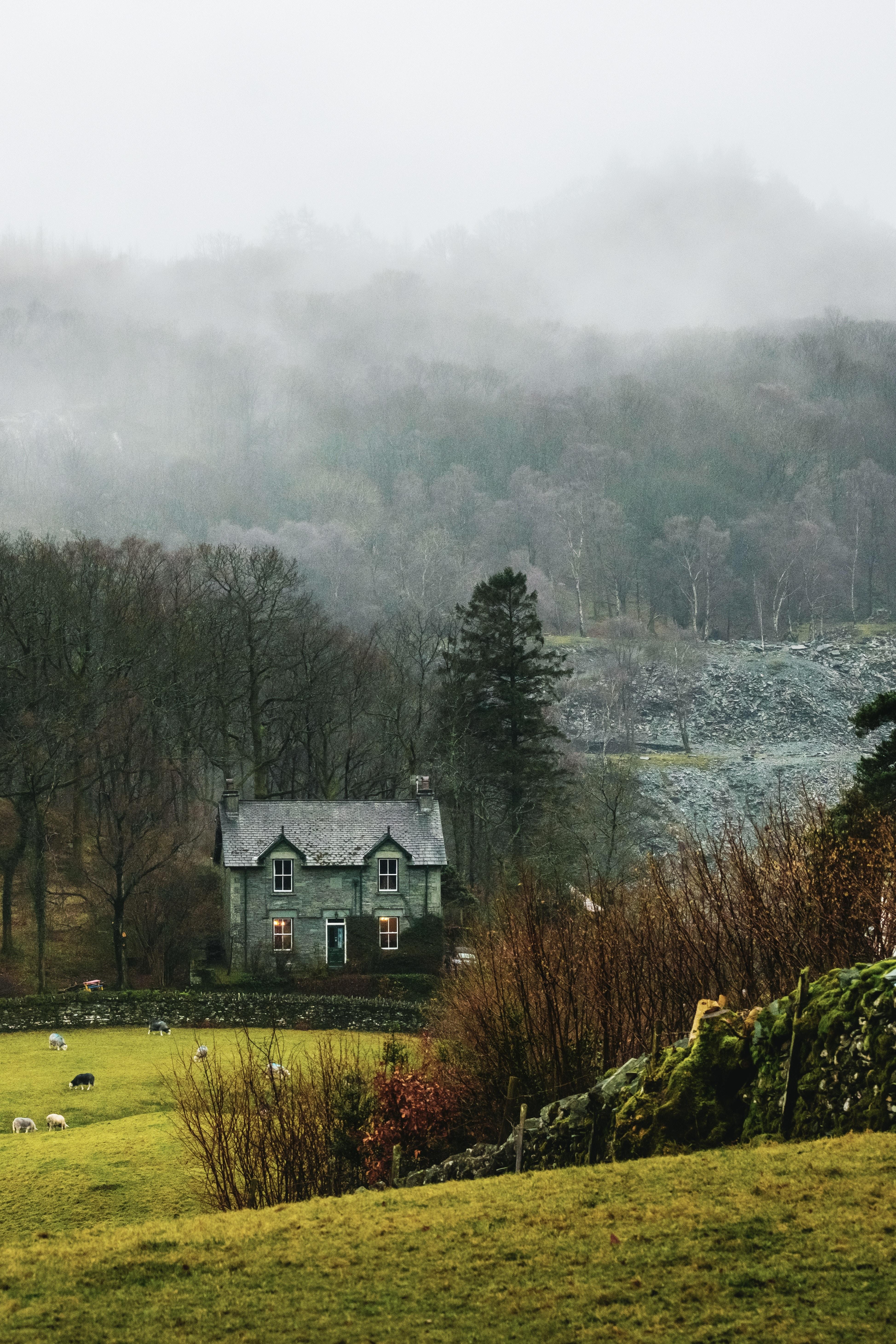 107175 скачать обои Природа, Дом, Туман, Трава, Деревня, Пейзаж - заставки и картинки бесплатно
