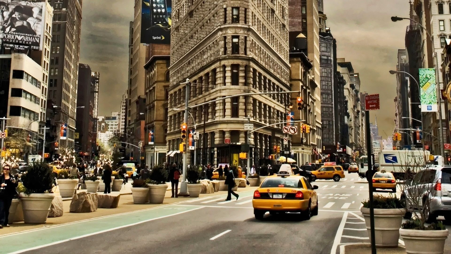79715 download wallpaper Usa, United States, Manhattan, Street, Traffic, Movement, Cities screensavers and pictures for free