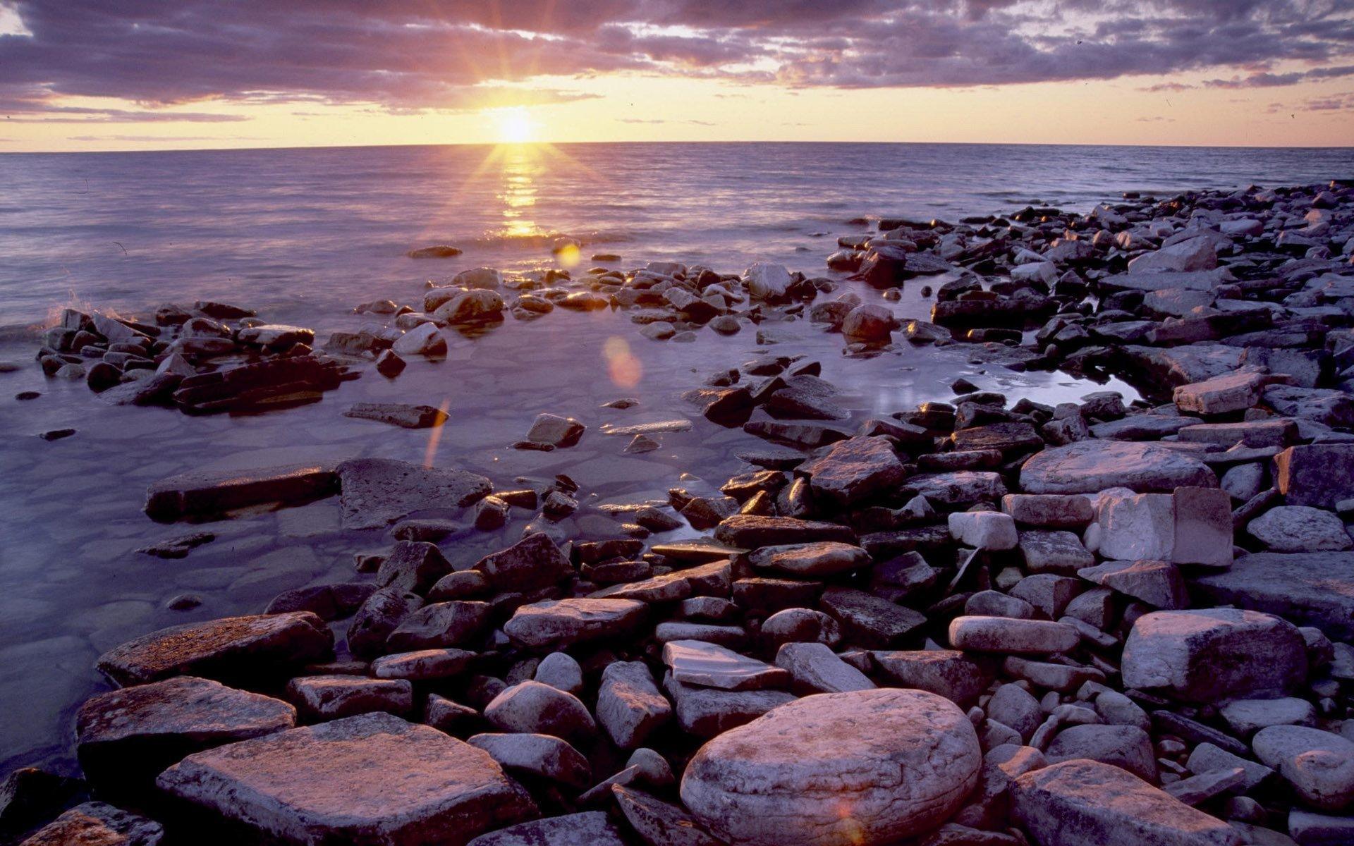 8548 скачать обои Пейзаж, Закат, Камни, Море - заставки и картинки бесплатно