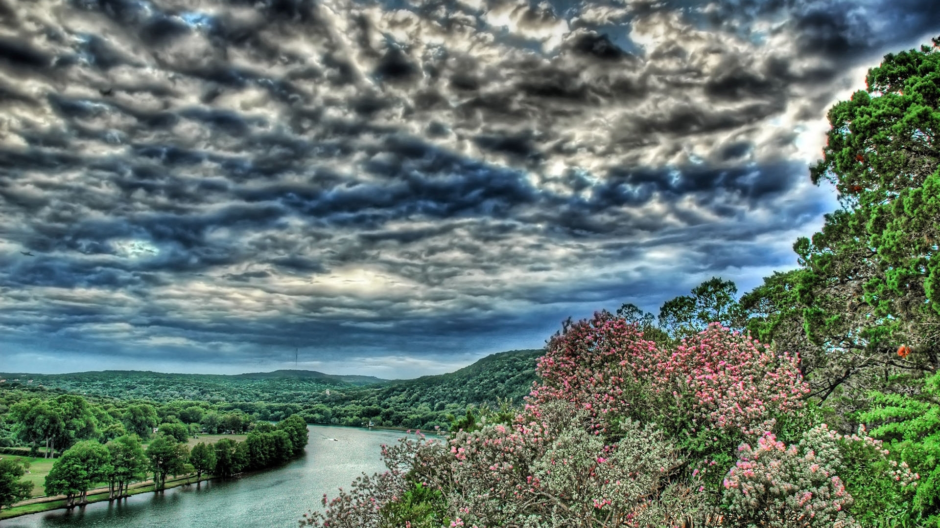 24986 скачать обои Пейзаж, Река, Деревья, Небо, Облака - заставки и картинки бесплатно