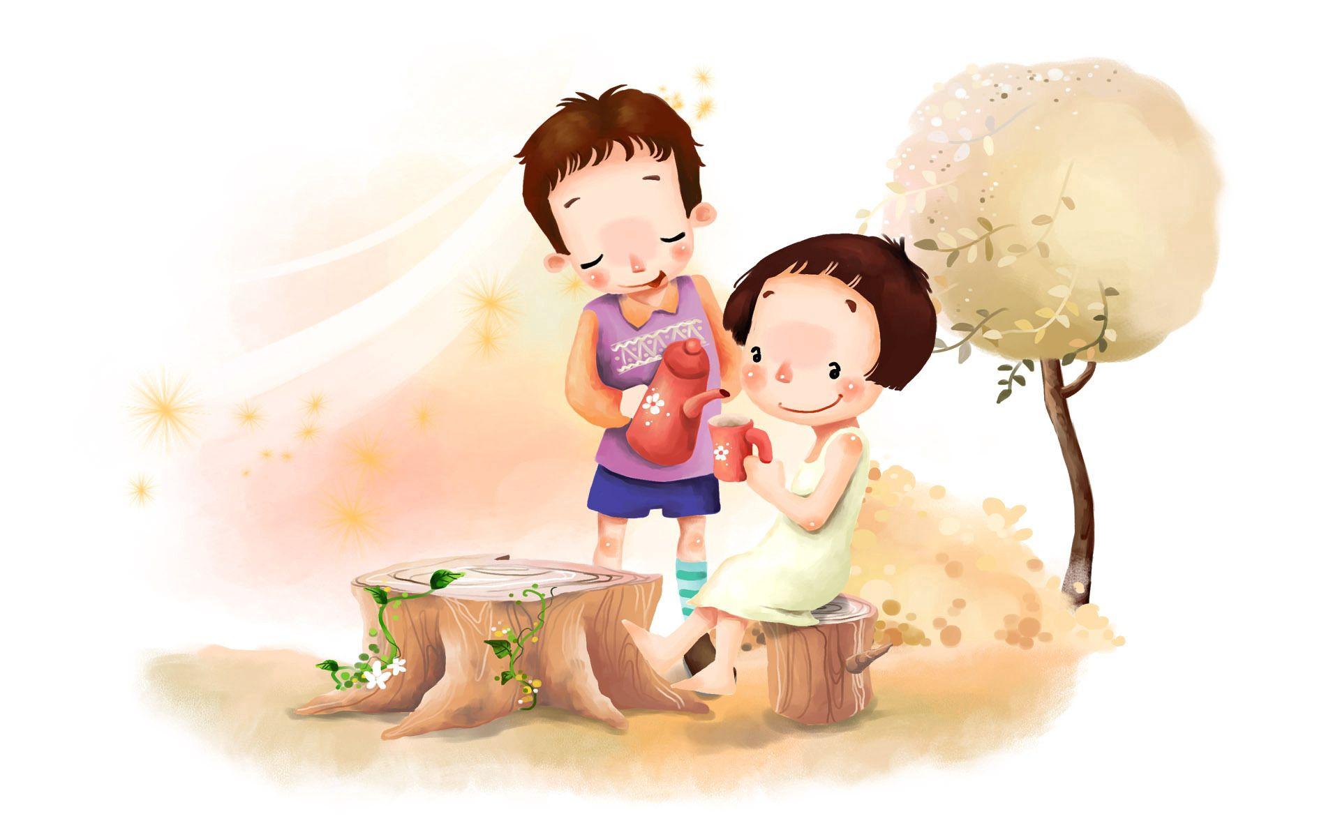 91582 скачать обои Разное, Рисунок, Девочка, Мальчик, Поляна, Дерево, Листва, Ветер, Чаепитие, Детство, Позитив, Цветы - заставки и картинки бесплатно