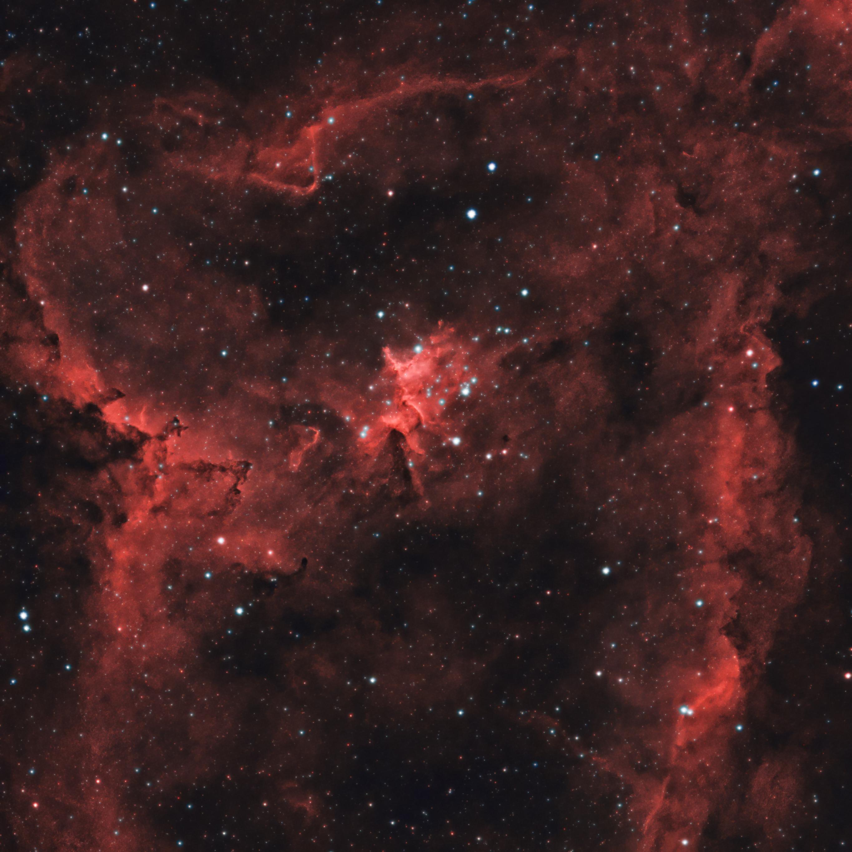 114990 скачать обои Космос, Звезды, Красный, Туманность, Свечение - заставки и картинки бесплатно