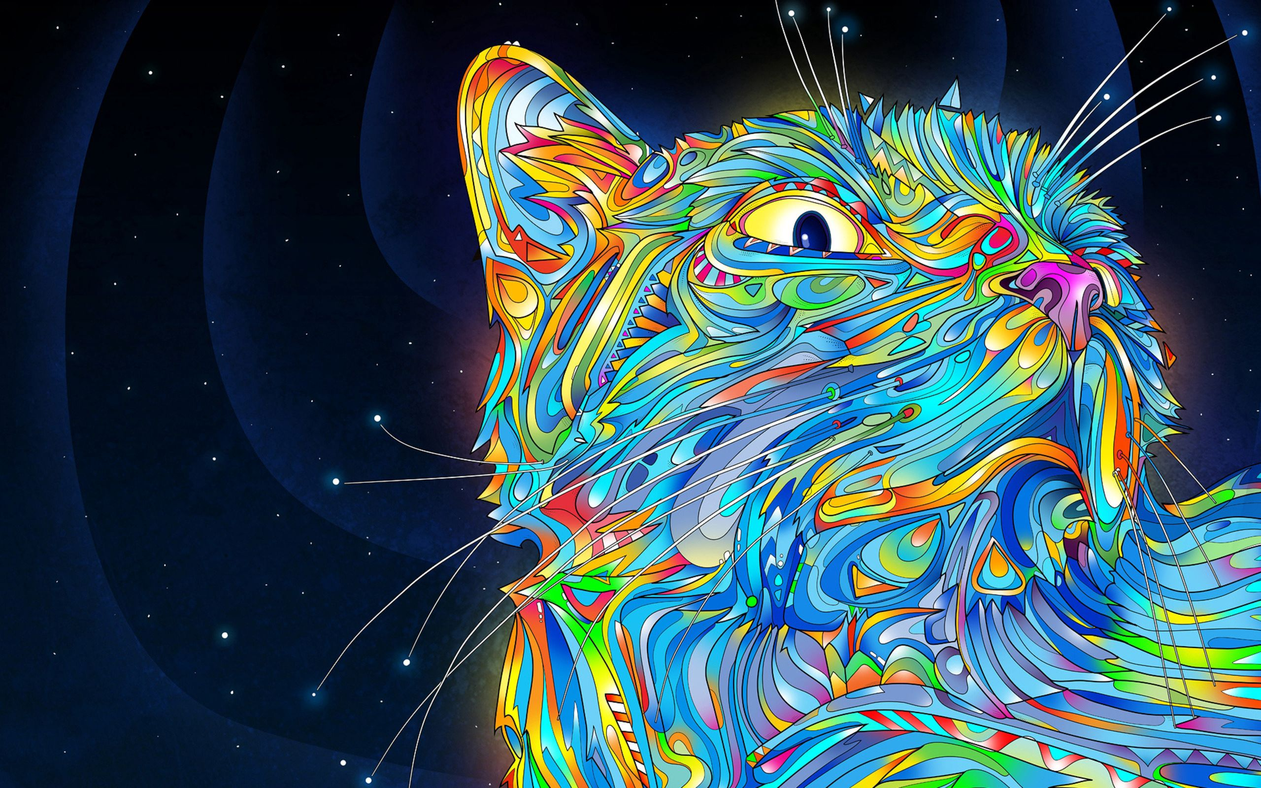157517 download wallpaper Cat, Vector, Abstract, Multicolored, Motley, Paints screensavers and pictures for free