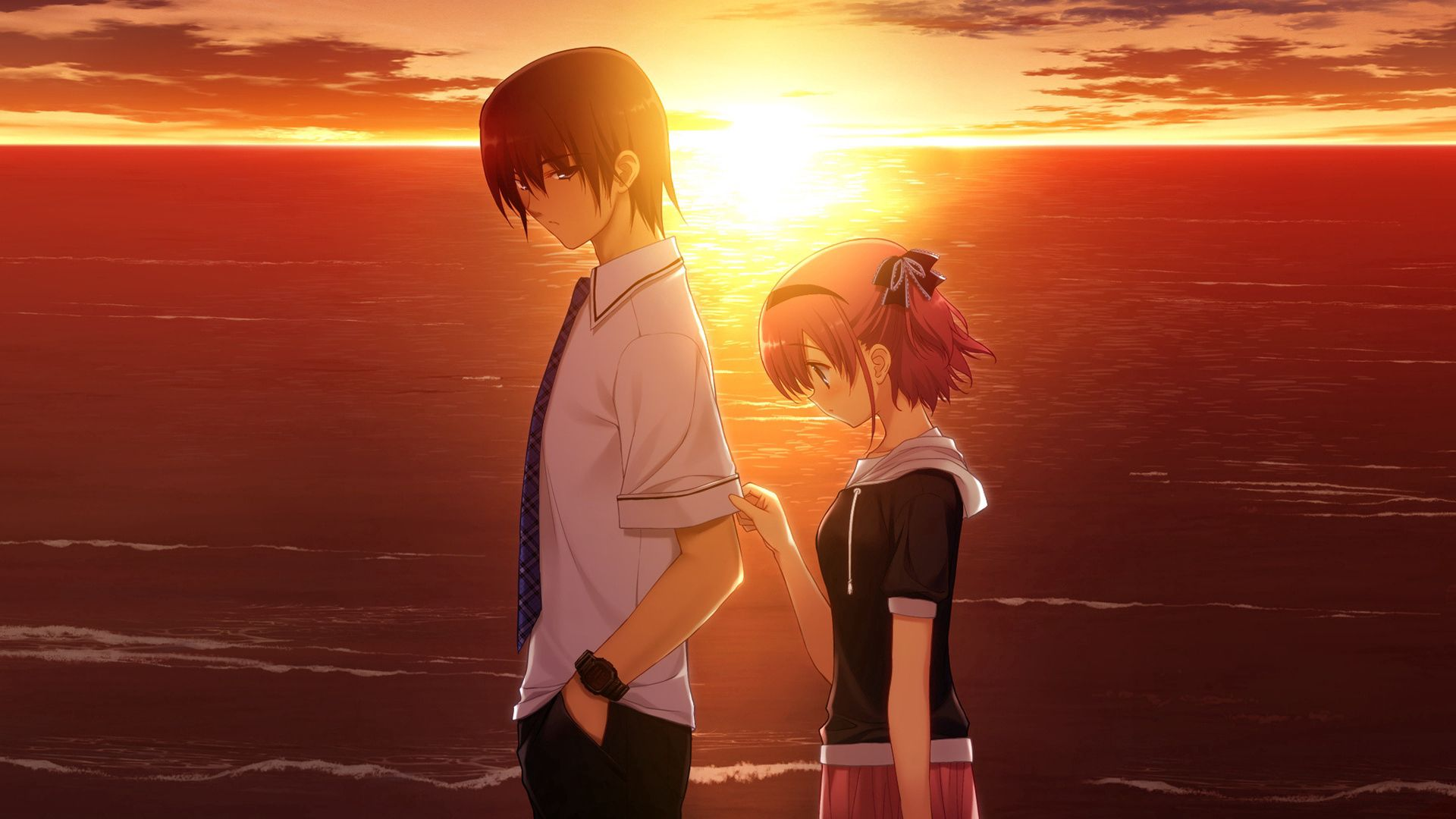 114086 baixar papel de parede Anime, Cara, Menina, Garota, Tristeza, Pôr Do Sol - protetores de tela e imagens gratuitamente