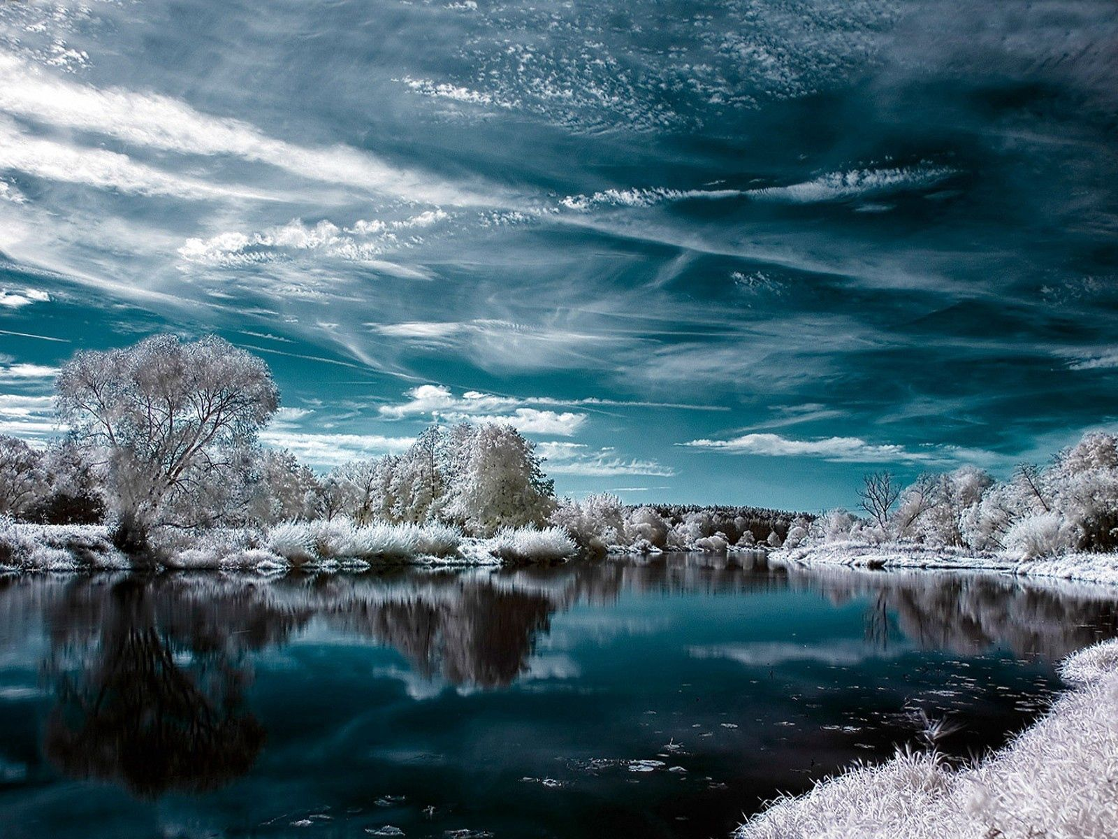 113438 download wallpaper Clouds, Winter, Nature, Trees, Lake, Reflection, Colors, Color, Frost, Hoarfrost screensavers and pictures for free