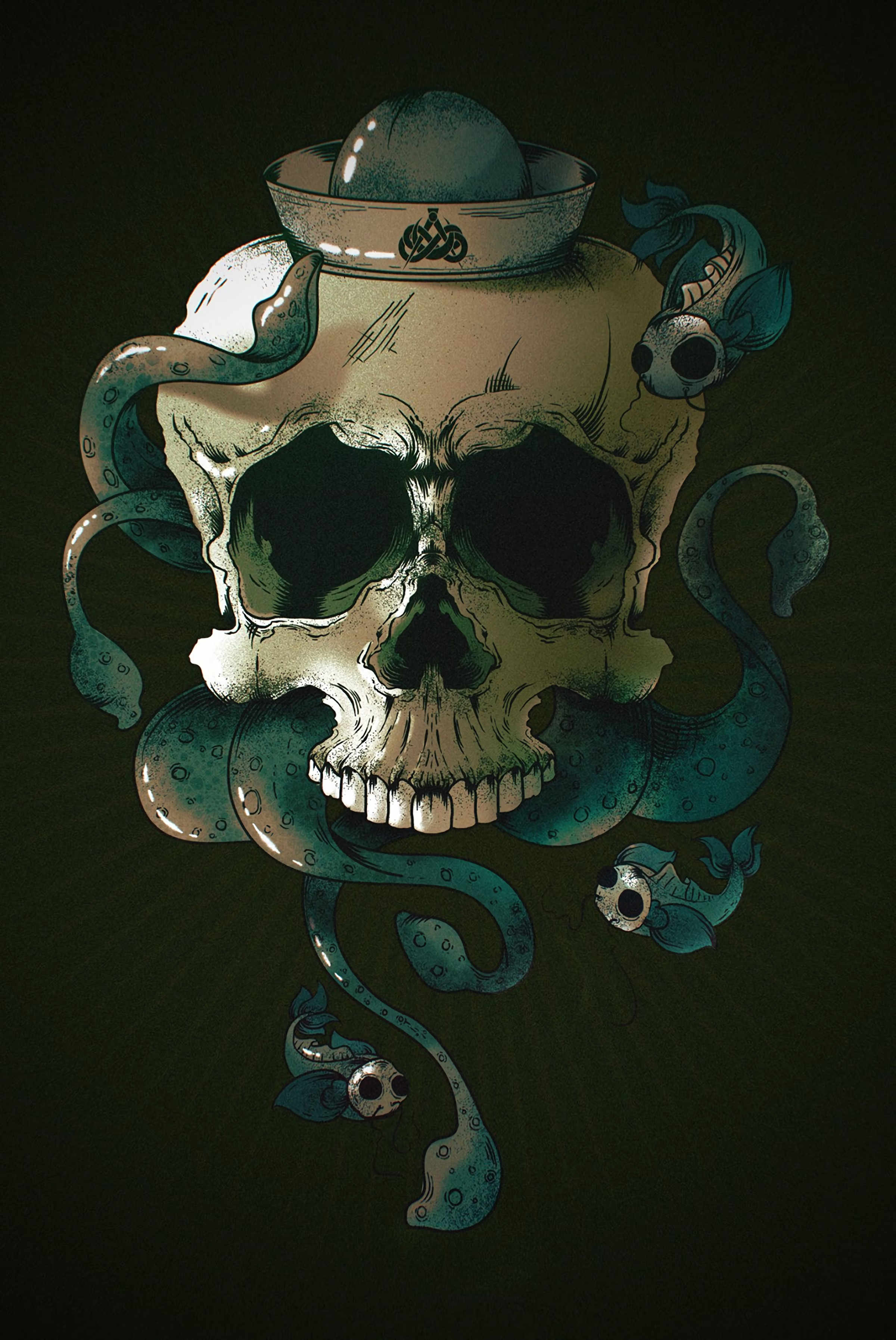 142836 download wallpaper Art, Fishes, Skull, Skeleton screensavers and pictures for free