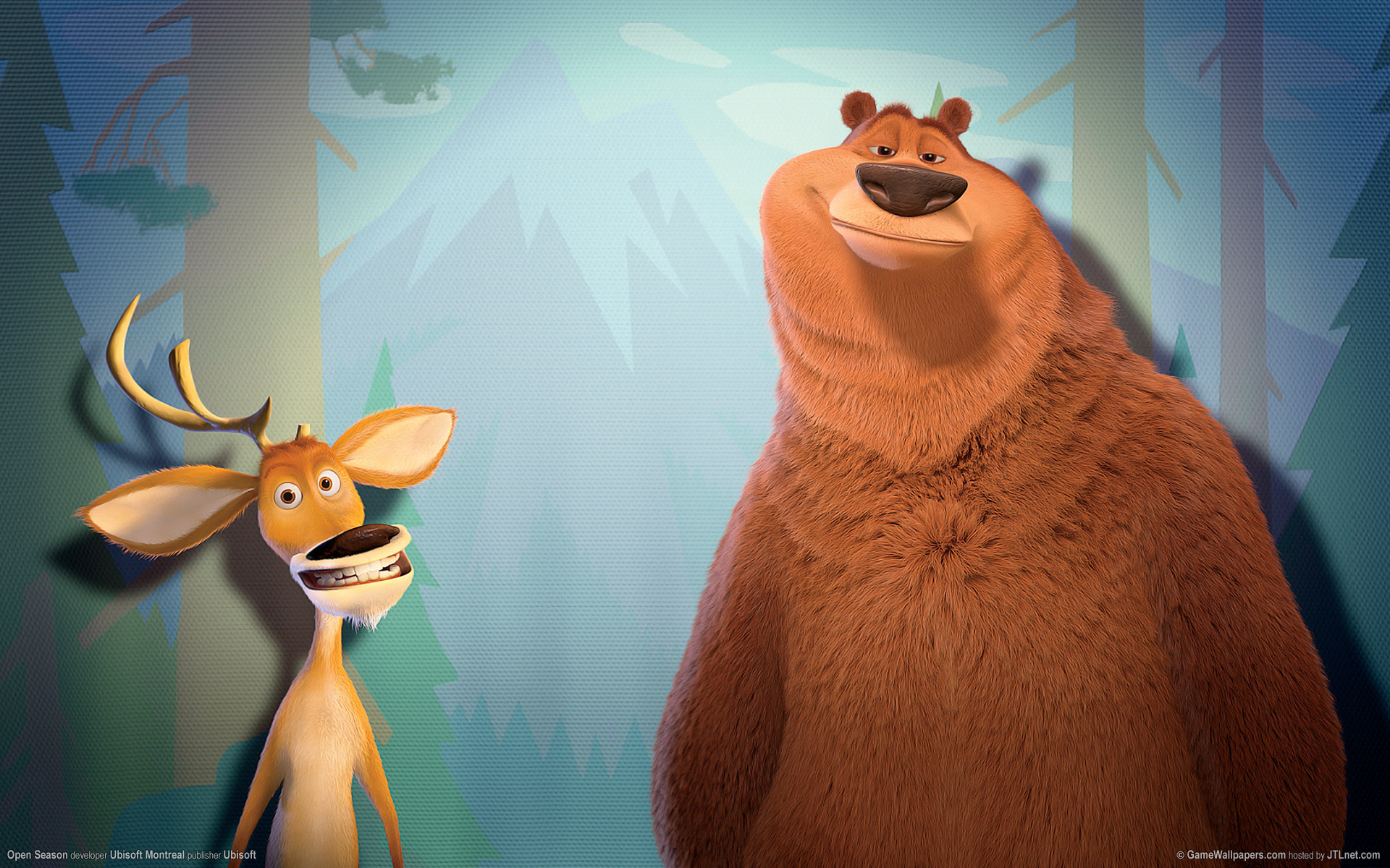 Download mobile wallpaper Deers, Bears, Animals, Background, Cartoon for free.