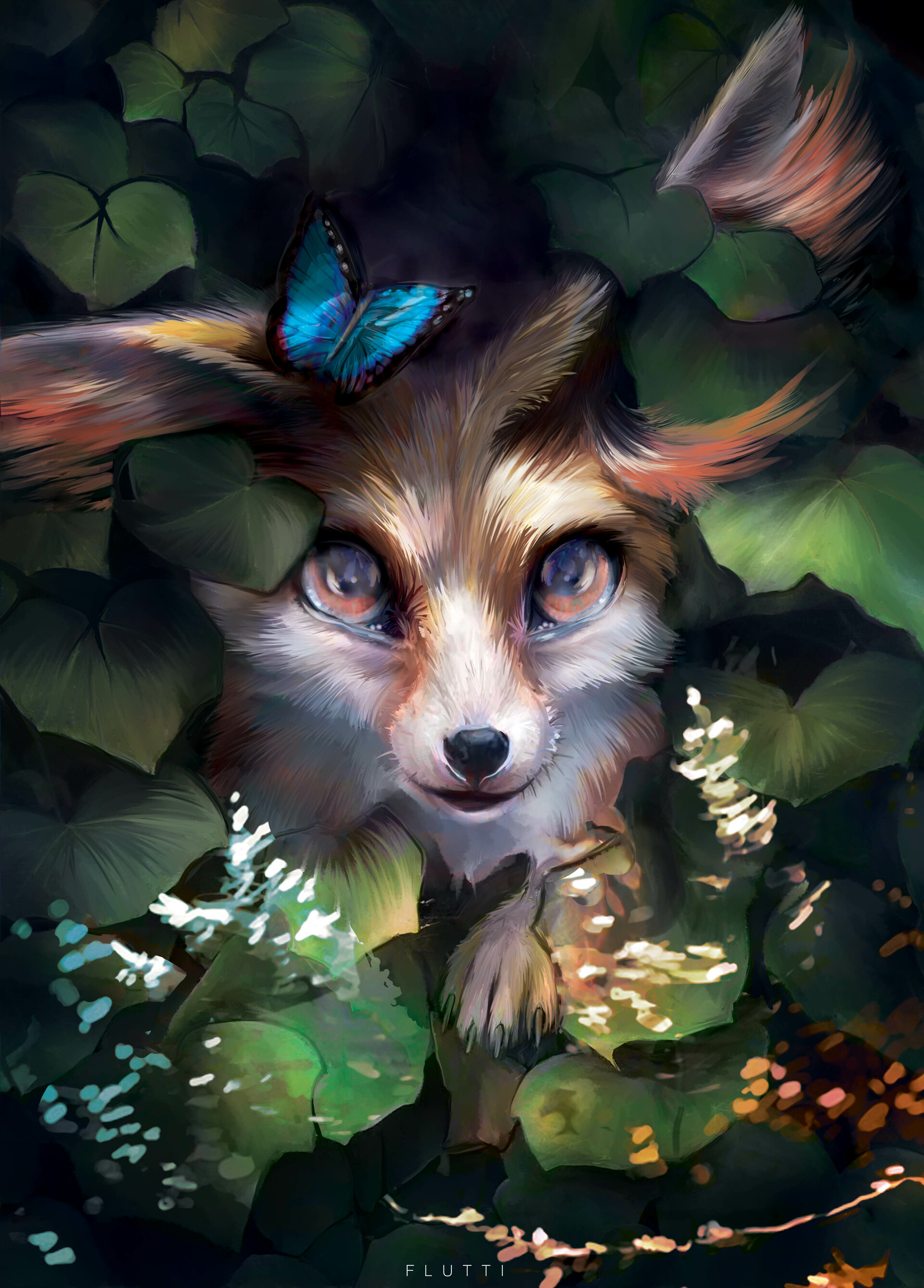 144804 download wallpaper Fox, Art, Leaves, Butterfly, Nice, Sweetheart screensavers and pictures for free