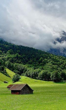 20073 скачать обои Пейзаж, Дома, Горы, Облака - заставки и картинки бесплатно