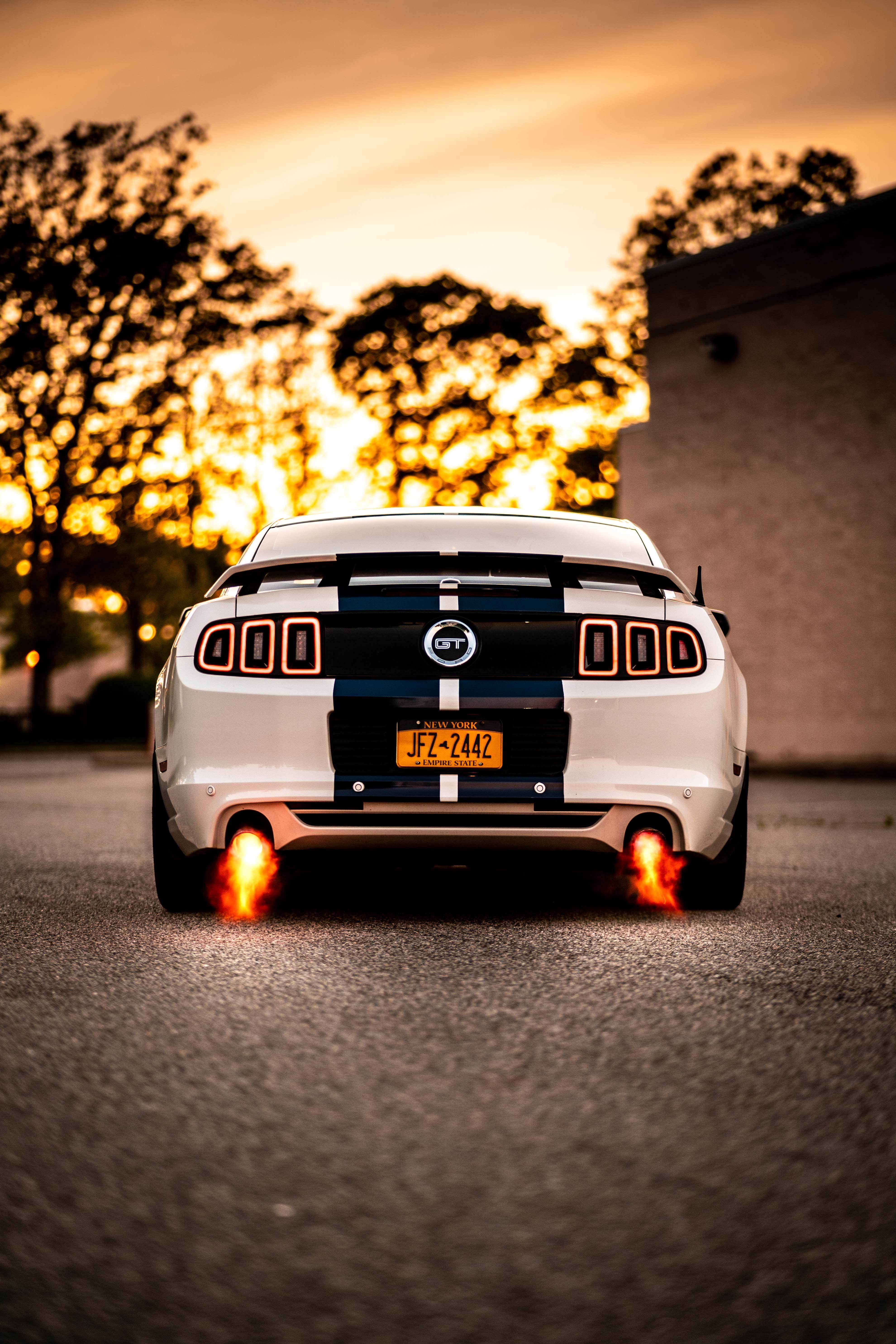128106 Hintergrundbild herunterladen Auto, Sport, Feuer, Cars, Macht, Maschine, Sportwagen, Rückansicht, Leistung - Bildschirmschoner und Bilder kostenlos