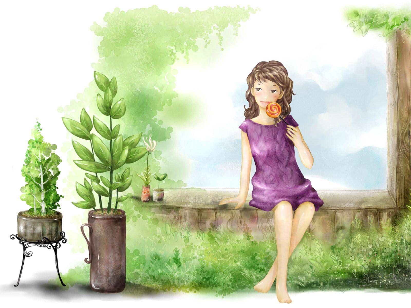 131719 скачать обои Разное, Рисунок, Девочка, Лето, Растения - заставки и картинки бесплатно