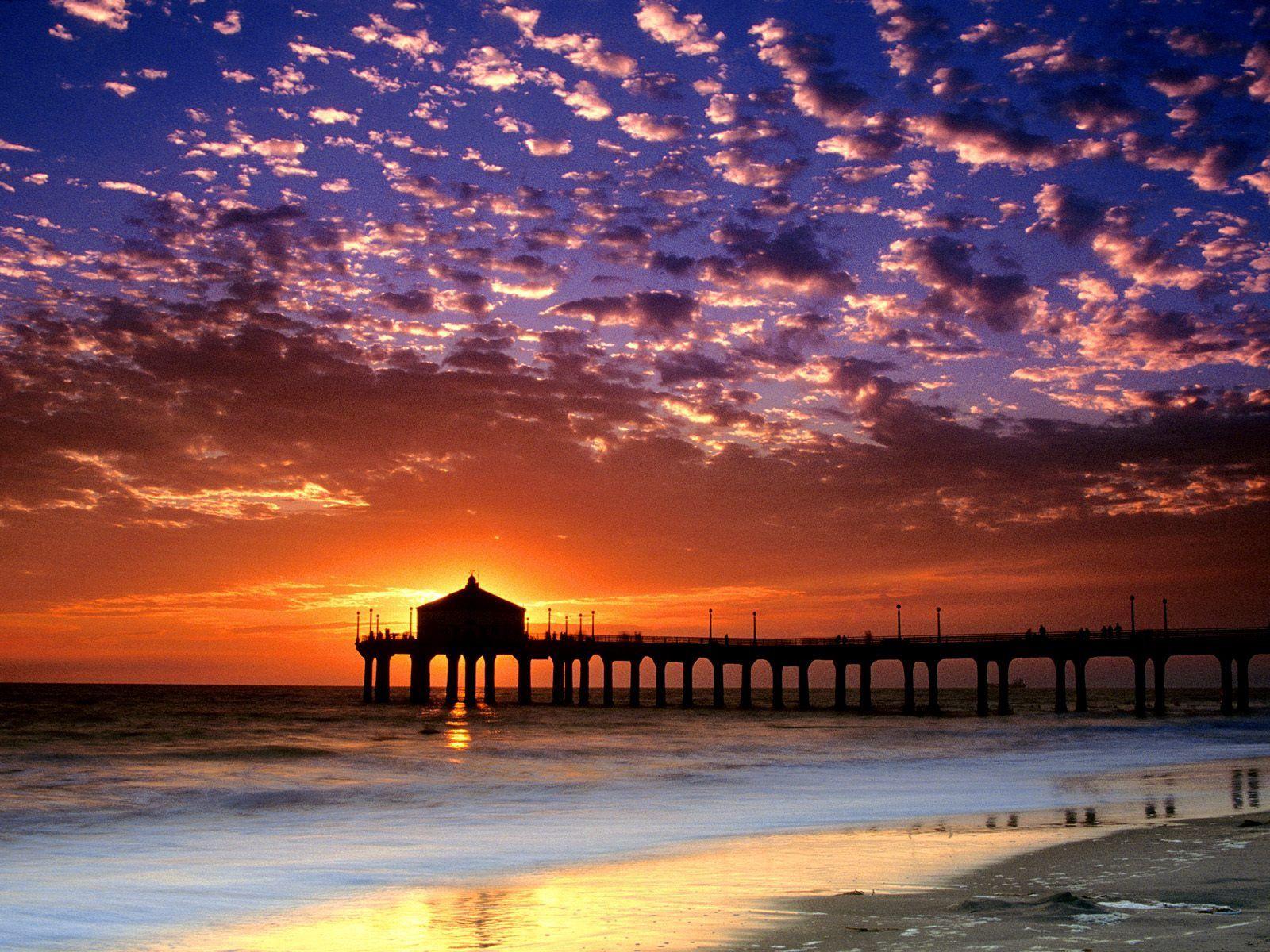 93374 скачать обои Природа, Вечер, Море, Пирс, Закат, Небо, Берег, Облака, Калифорния, Пляж, Солнце - заставки и картинки бесплатно