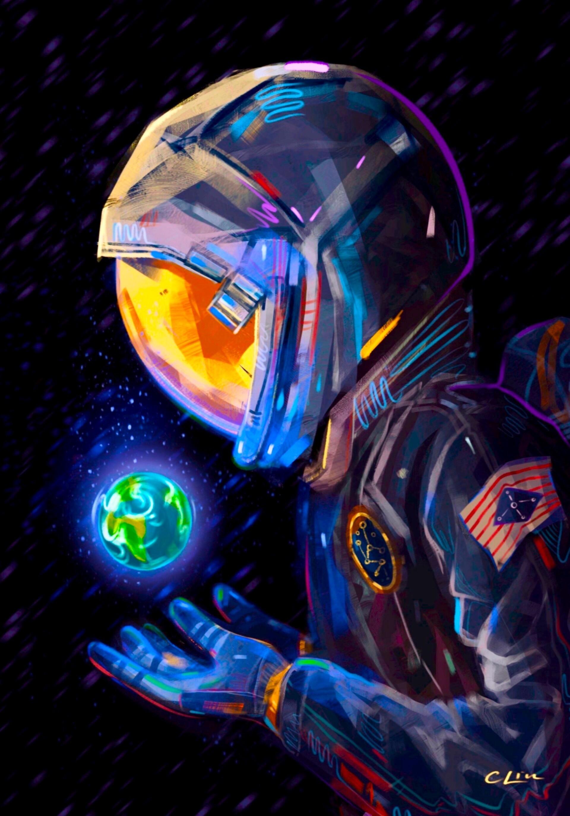 65847 скачать обои Планета, Космонавт, Арт, Земля, Скафандр - заставки и картинки бесплатно