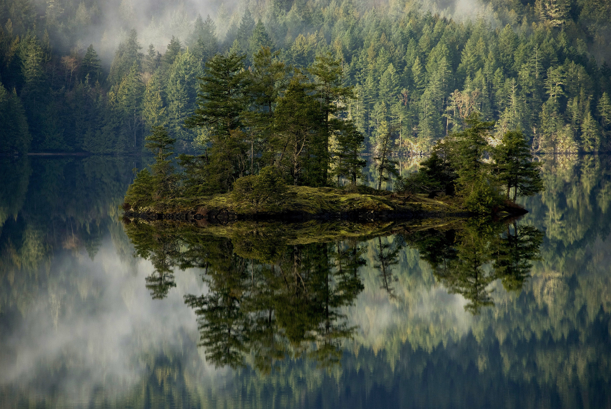 83092 Screensavers and Wallpapers Island for phone. Download Nature, Lake, Reflection, Forest, Fog, Island pictures for free