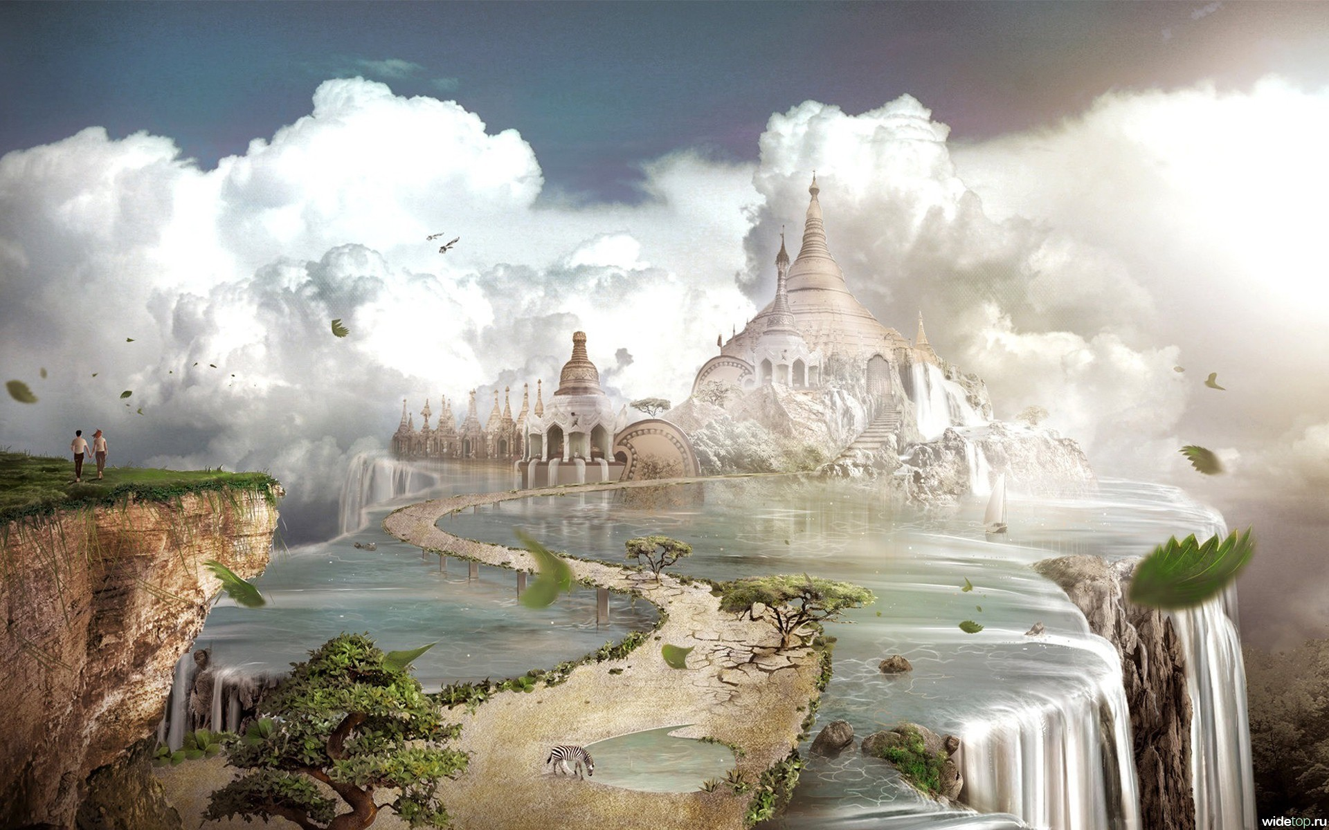 26665 download wallpaper Landscape, Fantasy, Sky, Clouds, Castles screensavers and pictures for free