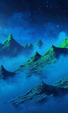 55453 baixar papel de parede Arte, Alpinista, Alpinist, Silhueta, Menina, Garota, Lua, Noite, Névoa, Nevoeiro, Montanhas, Aves - protetores de tela e imagens gratuitamente