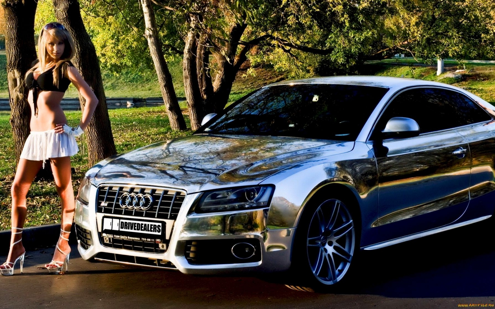 24591 download wallpaper Transport, Auto, People, Girls, Audi screensavers and pictures for free