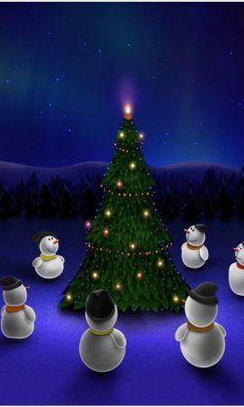 19994 descargar fondo de pantalla Vacaciones, Fondo, Año Nuevo, Abetos, Muñeco De Nieve: protectores de pantalla e imágenes gratis