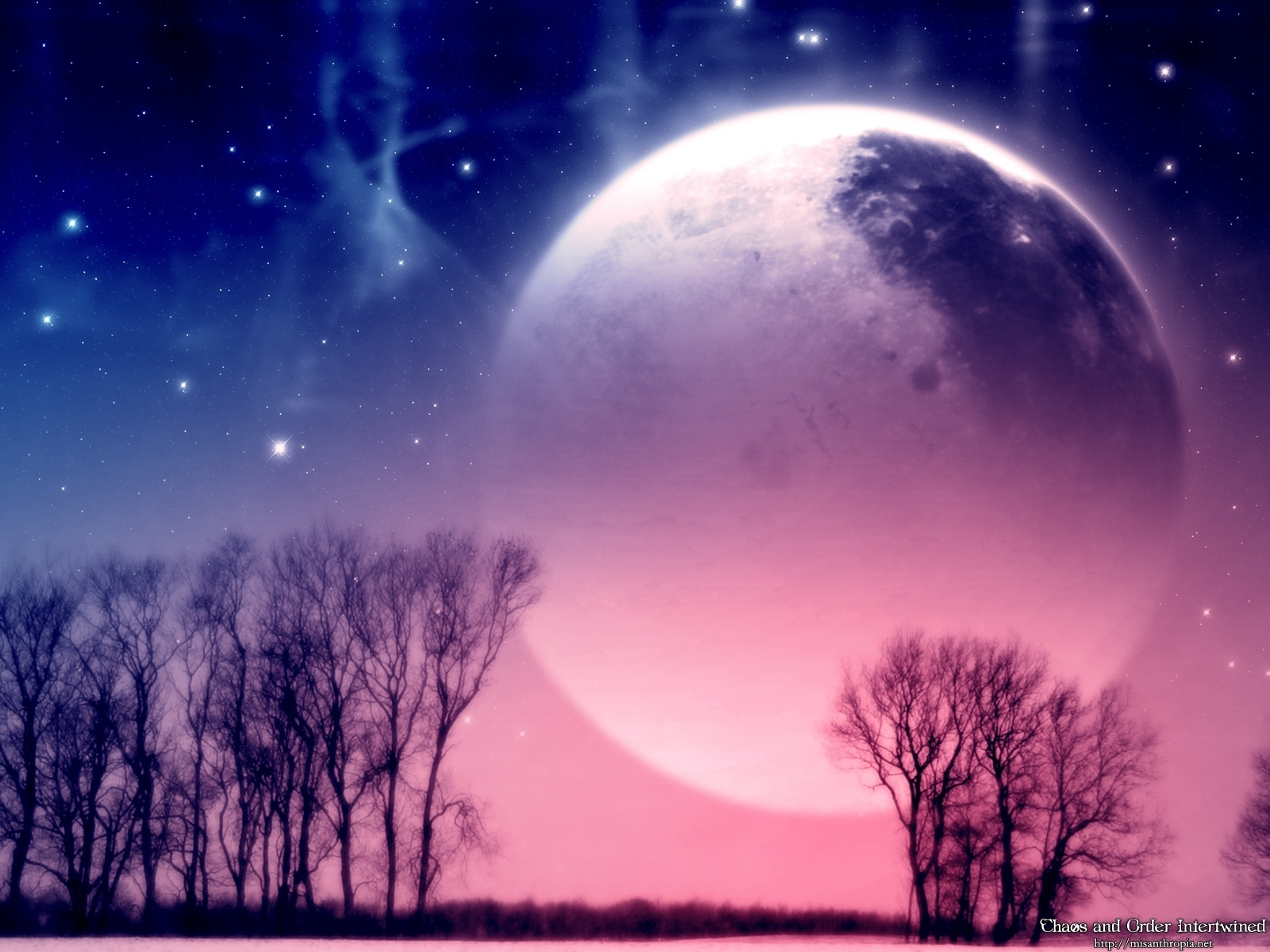 3554 download wallpaper Landscape, Trees, Planets screensavers and pictures for free