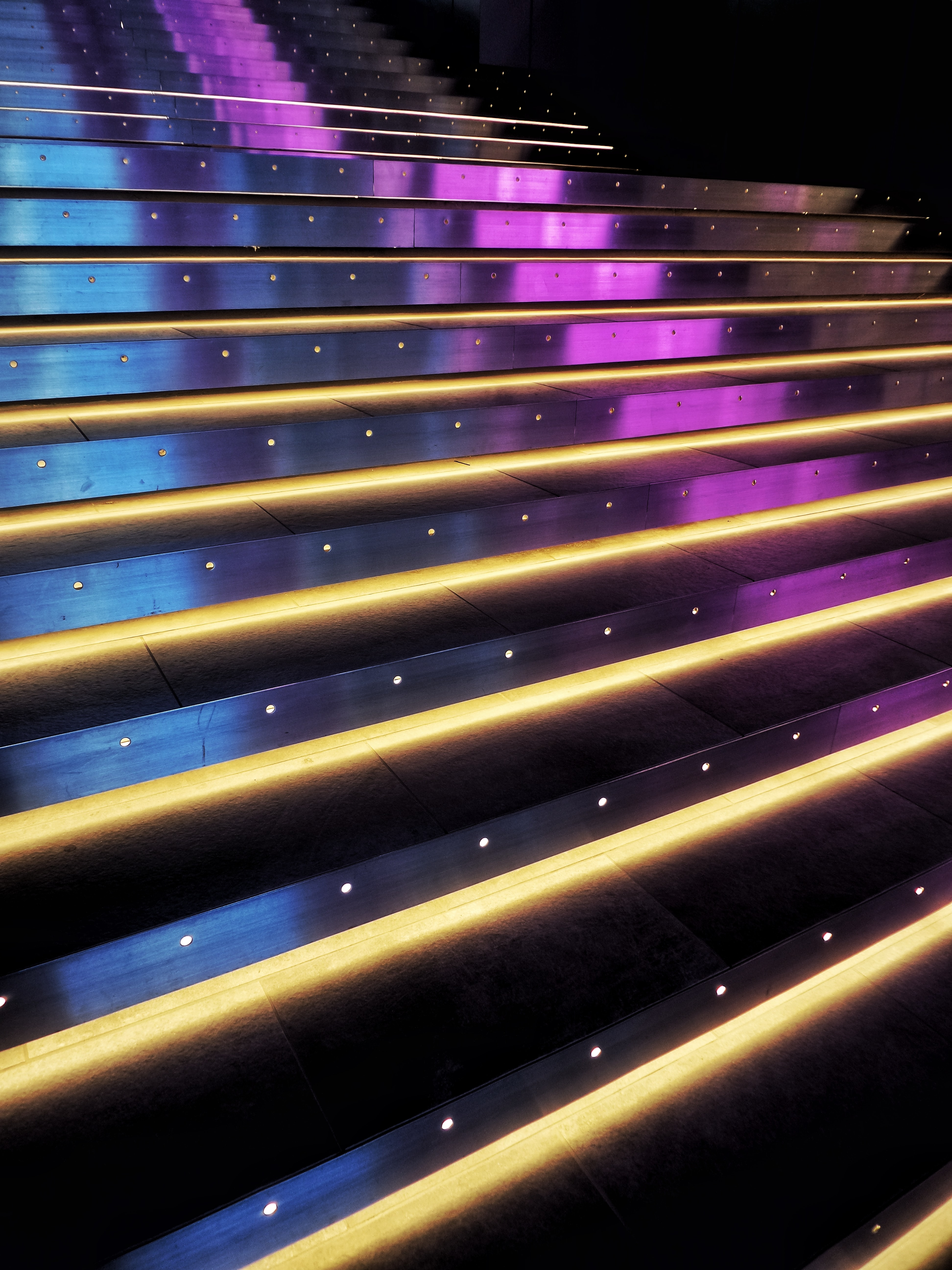 97817 download wallpaper Miscellanea, Miscellaneous, Stairs, Ladder, Steps, Neon, Backlight, Illumination, Shine, Light screensavers and pictures for free