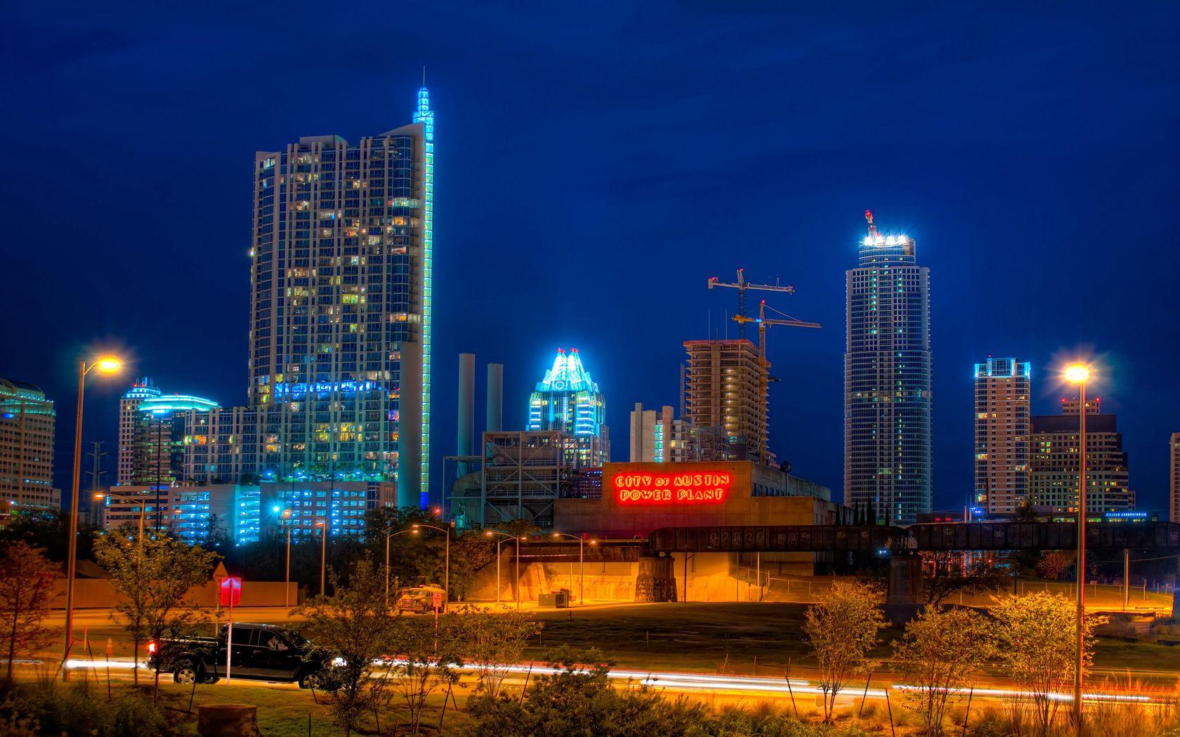 153702 скачать обои Остин, Техас, Небоскребы, Здания, Ночь, Города - заставки и картинки бесплатно