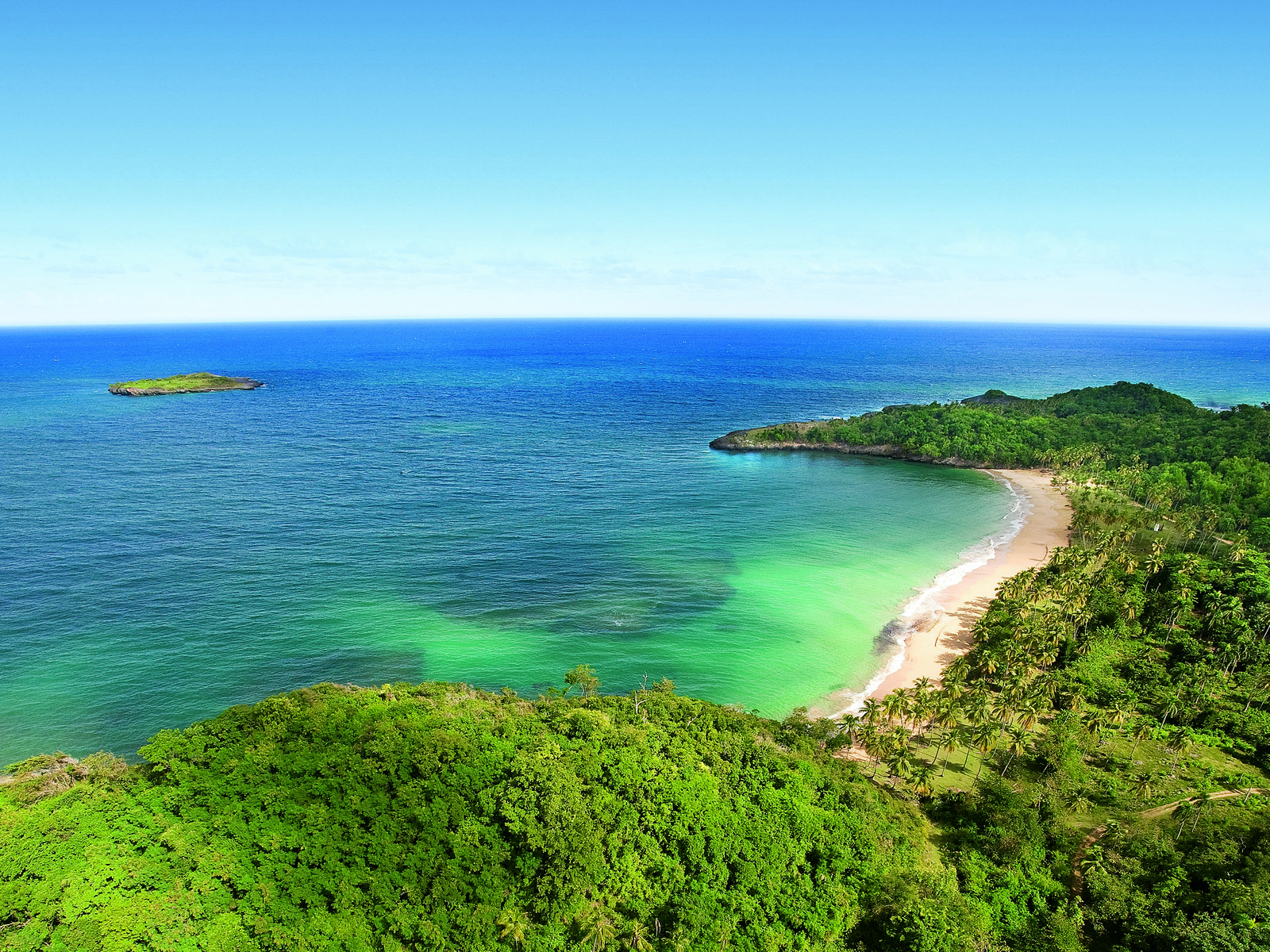 19611 скачать обои Пейзаж, Море, Пляж, Пальмы - заставки и картинки бесплатно