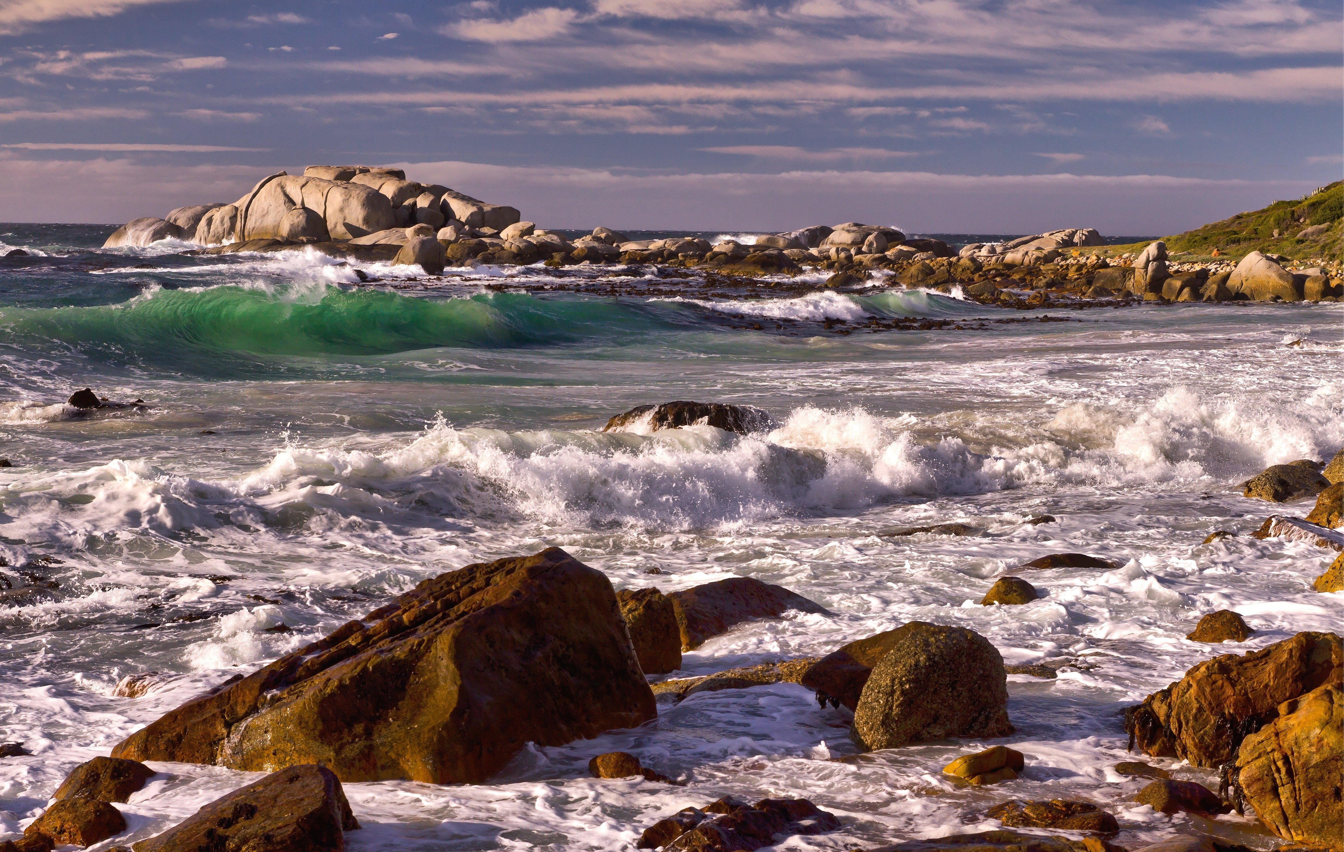 68242 download wallpaper Nature, Sea, Stones, Rocks, Waves, Landscape screensavers and pictures for free