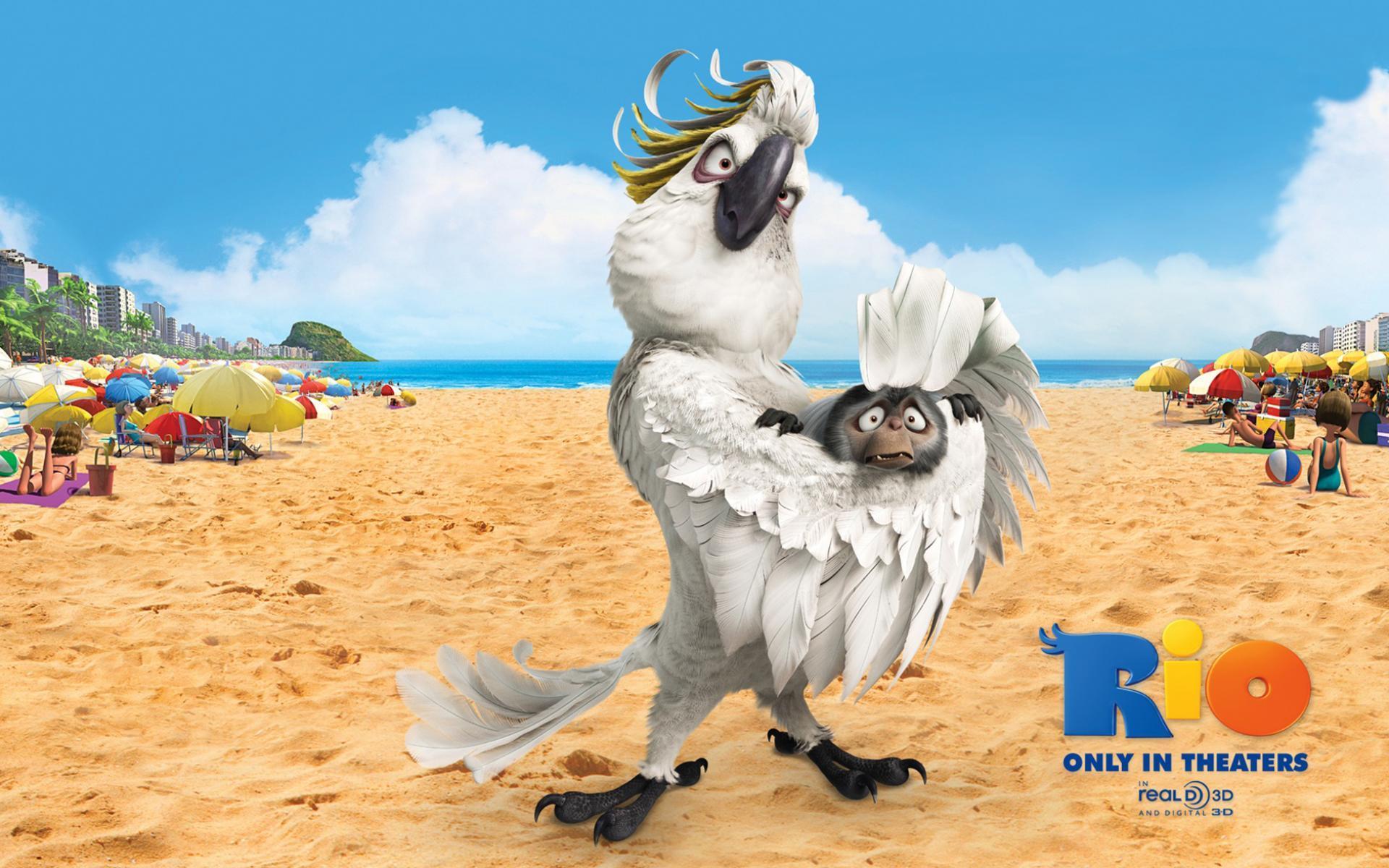 17058 скачать обои Мультфильмы, Птицы, Попугаи, Пляж, Рио (Rio) - заставки и картинки бесплатно