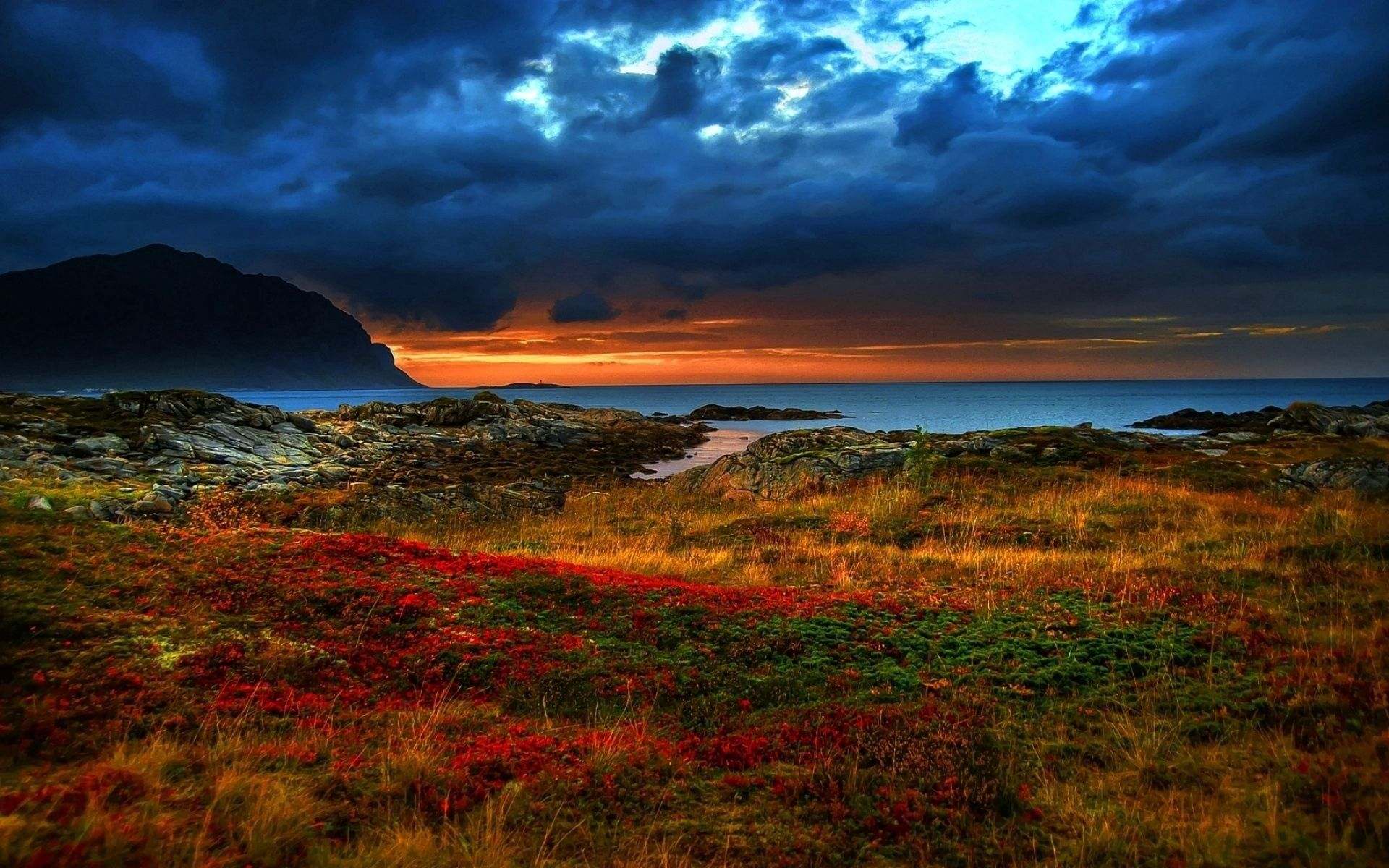 103476 Screensavers and Wallpapers Colors for phone. Download Multicolored, Nature, Sunset, Mountains, Shore, Bank, Vegetation, Colors, Color, Evening, Colorful, Brightly, Diversity, Variety, Contrast pictures for free