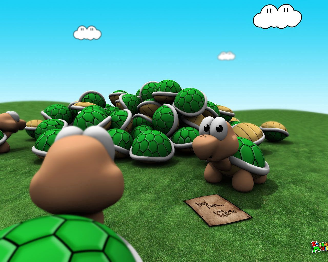 82292 download wallpaper Turtles, Grass, Sky, Mario, Bright, 3D, Game screensavers and pictures for free