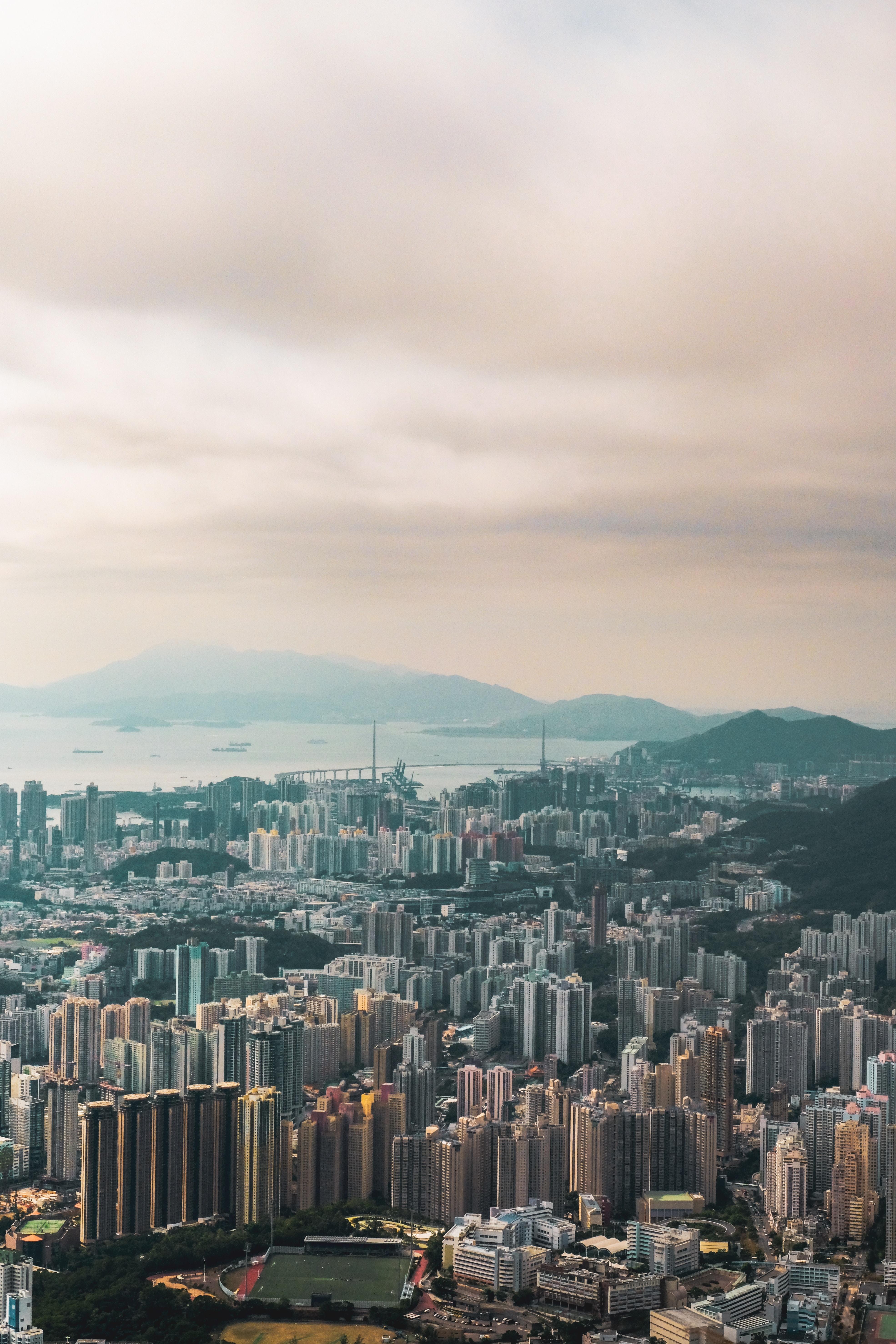 145762壁紙のダウンロード市, 都市, 建物, 上から見る, 香港, アーキテクチャ-スクリーンセーバーと写真を無料で