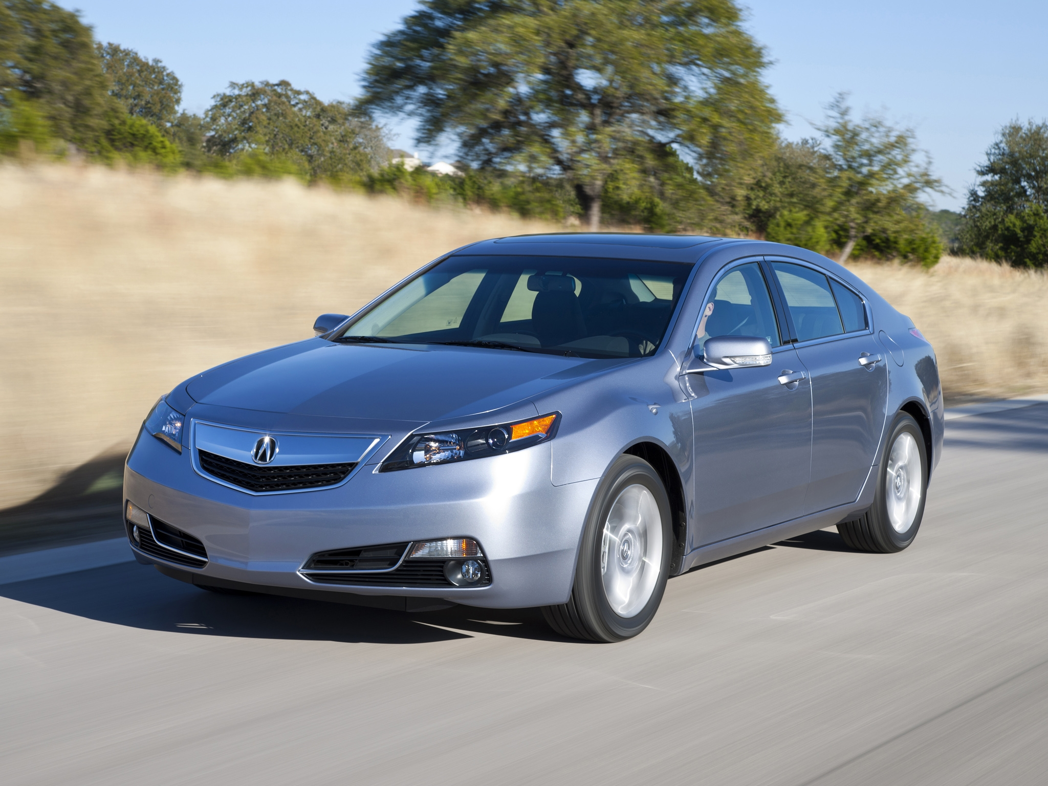 132893 download wallpaper Cars, Acura, Tl, 2011, Silver Metallic, Front View, Style, Auto, Akura, Speed, Nature, Asphalt, Trees screensavers and pictures for free