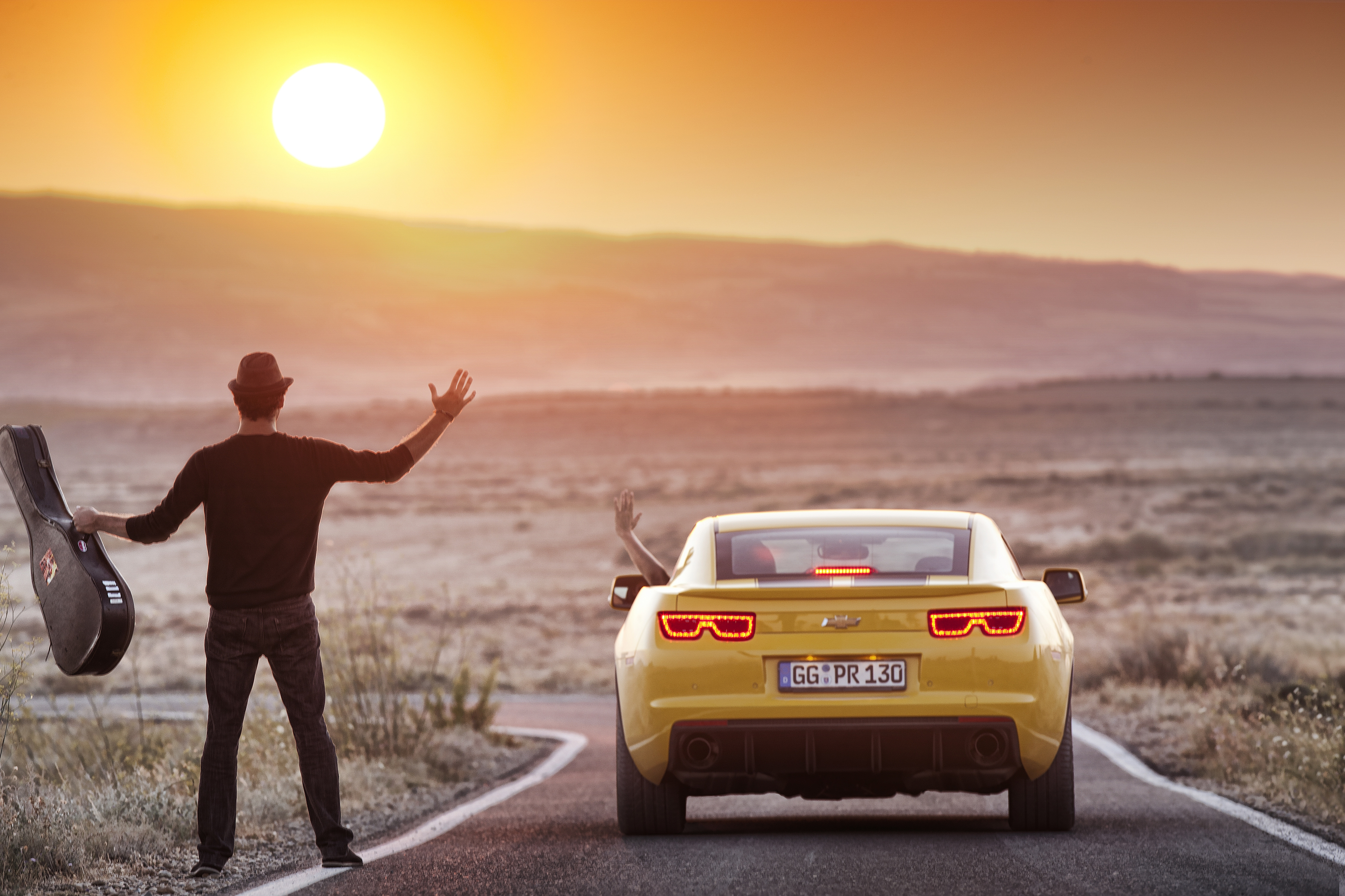 152162 Screensavers and Wallpapers Guy for phone. Download Landscape, Nature, Sun, Chevrolet, Mountain, Miscellanea, Miscellaneous, Guitar, Guy, 2012, Camaro, Situation pictures for free