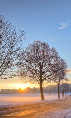 21948 скачать обои Пейзаж, Зима, Деревья, Закат, Дороги, Снег - заставки и картинки бесплатно