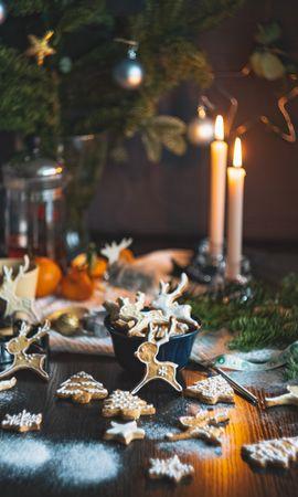 111309 завантажити шпалери Свята, Печиво, Свічки, Різдво, Новий Рік, Свято - заставки і картинки безкоштовно