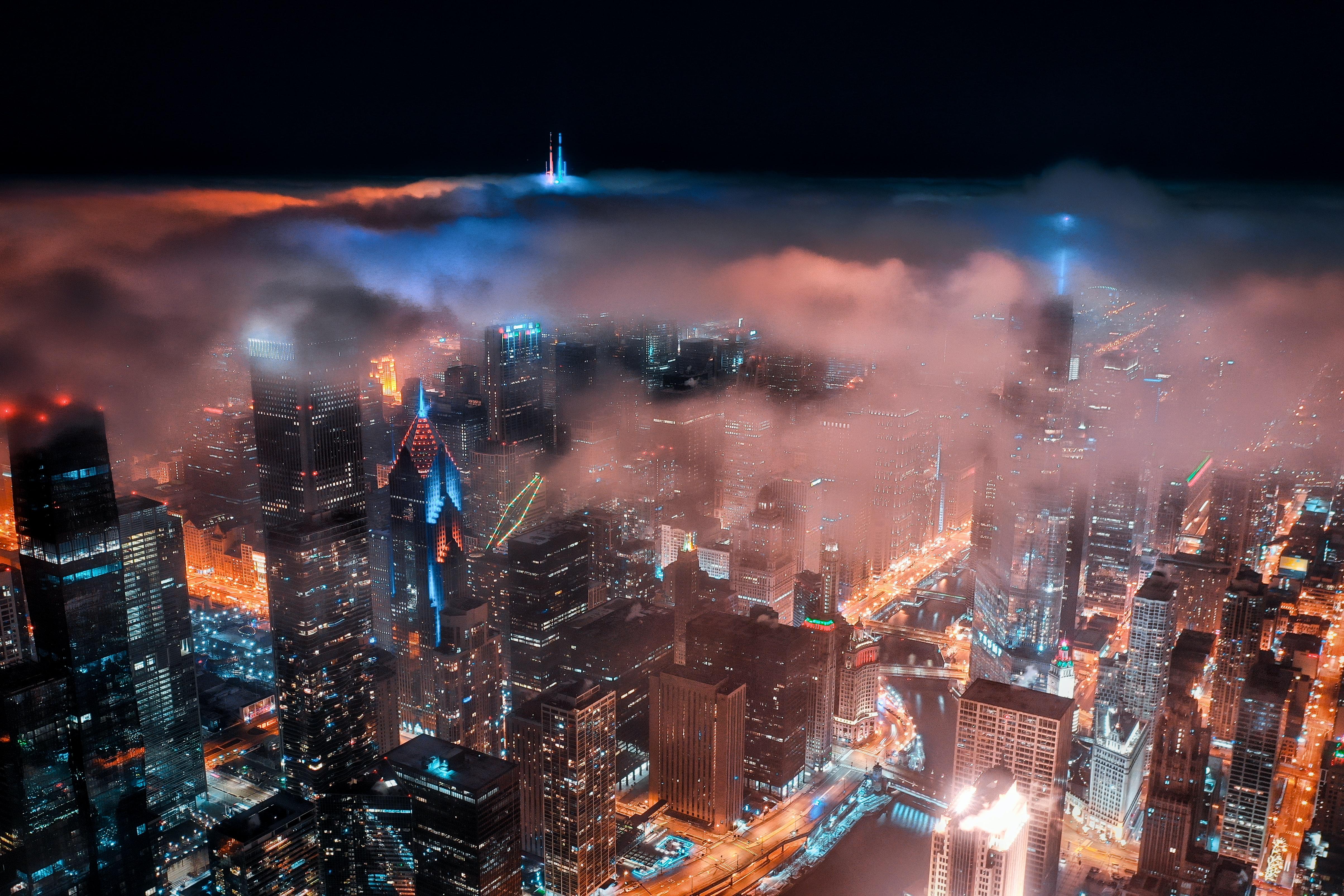 65131 Заставки и Обои Облака на телефон. Скачать Город, Вид Сверху, Здания, Облака, Ночь, Темный, Города картинки бесплатно