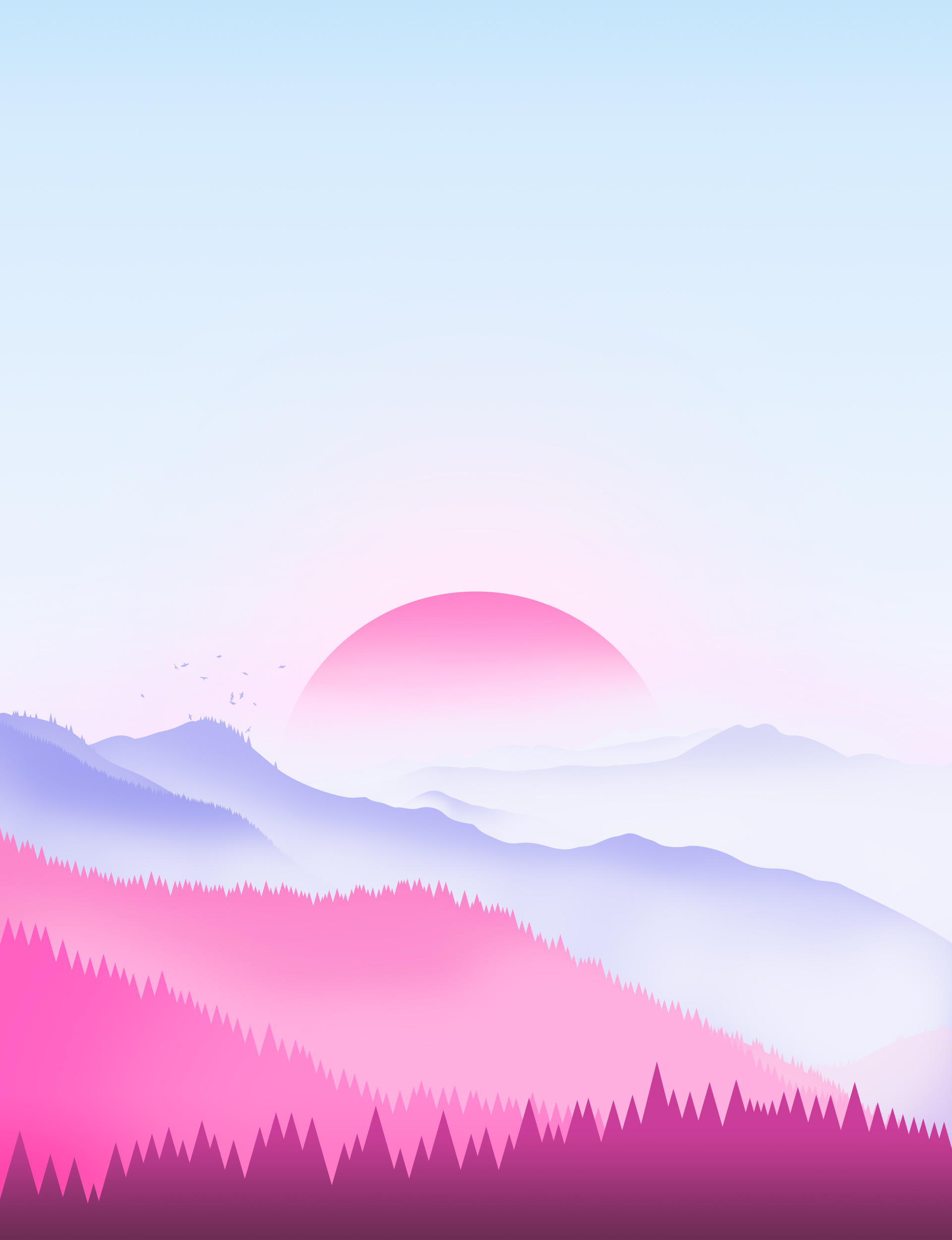 102685 download wallpaper Sunset, Trees, Vector, Art, Sun screensavers and pictures for free