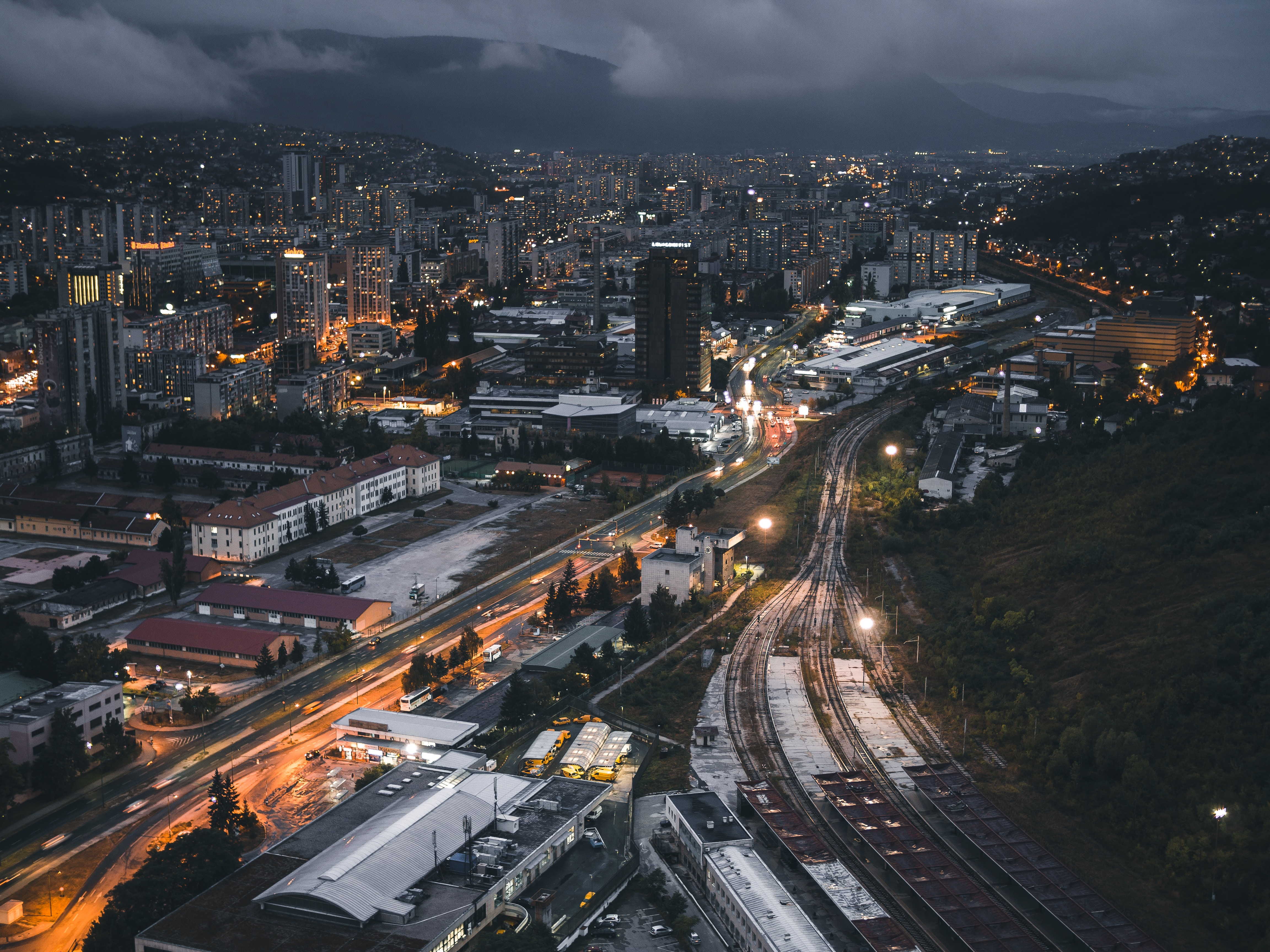 51126 Screensavers and Wallpapers Night City for phone. Download Night City, Cities, Building, View From Above, Railway pictures for free