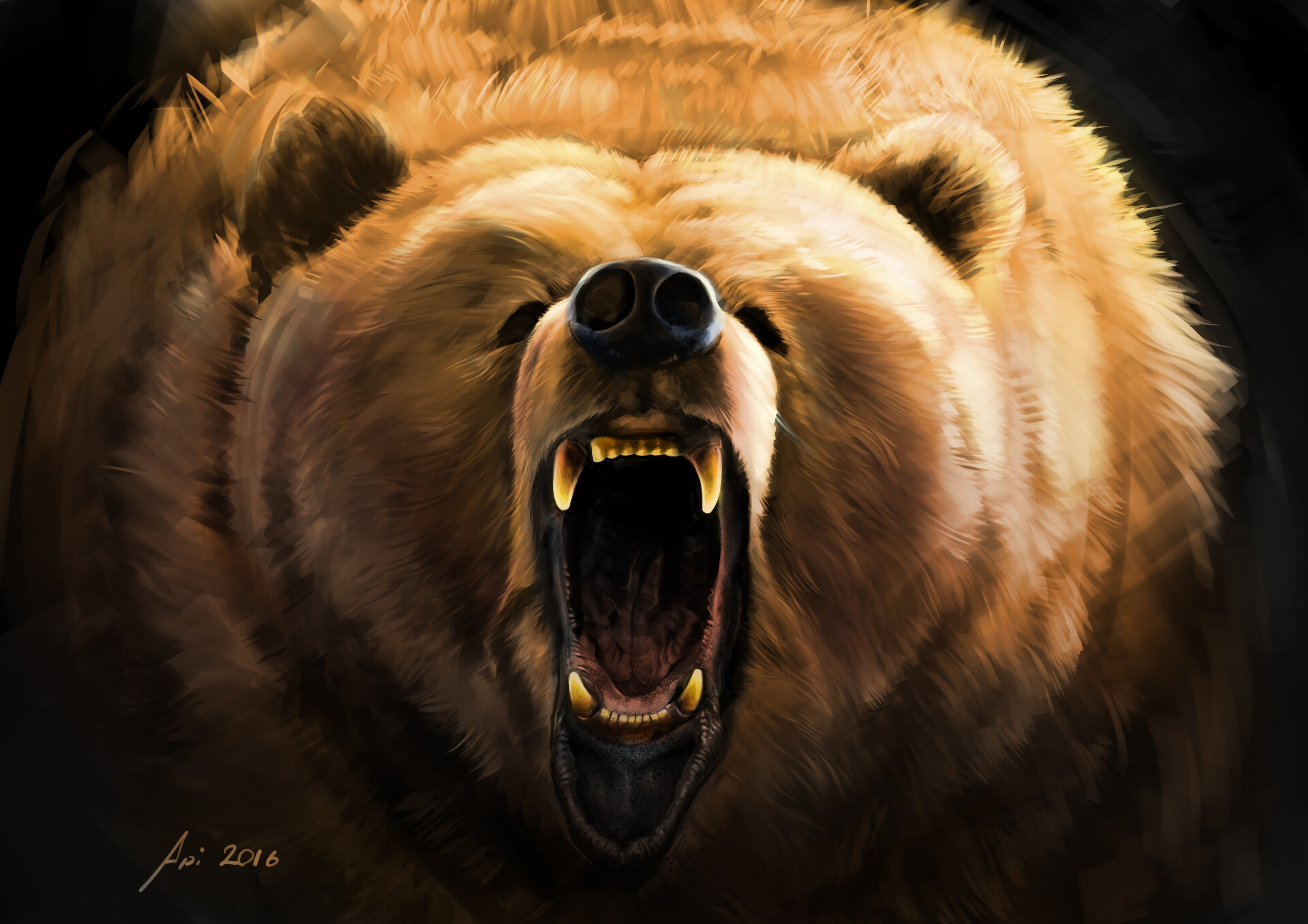 124283 Screensavers and Wallpapers Bear for phone. Download Art, Grin, Bear, Fangs, Evil pictures for free