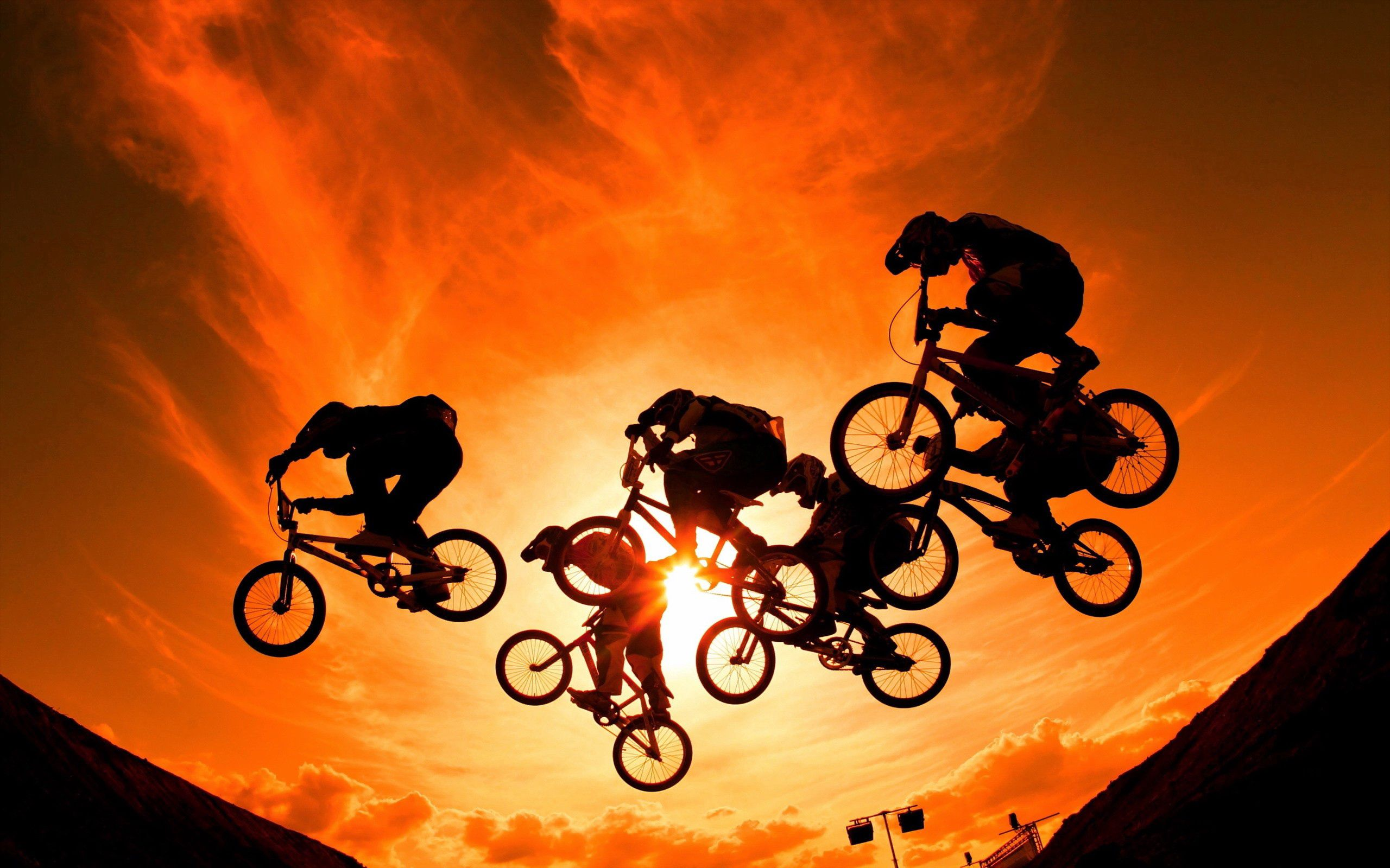 123063 Hintergrundbild herunterladen Sport, Sunset, Sky, Sun, Radfahrer - Bildschirmschoner und Bilder kostenlos