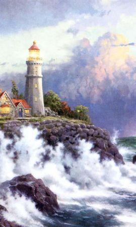 9415 скачать обои Пейзаж, Небо, Море, Рисунки, Маяки - заставки и картинки бесплатно