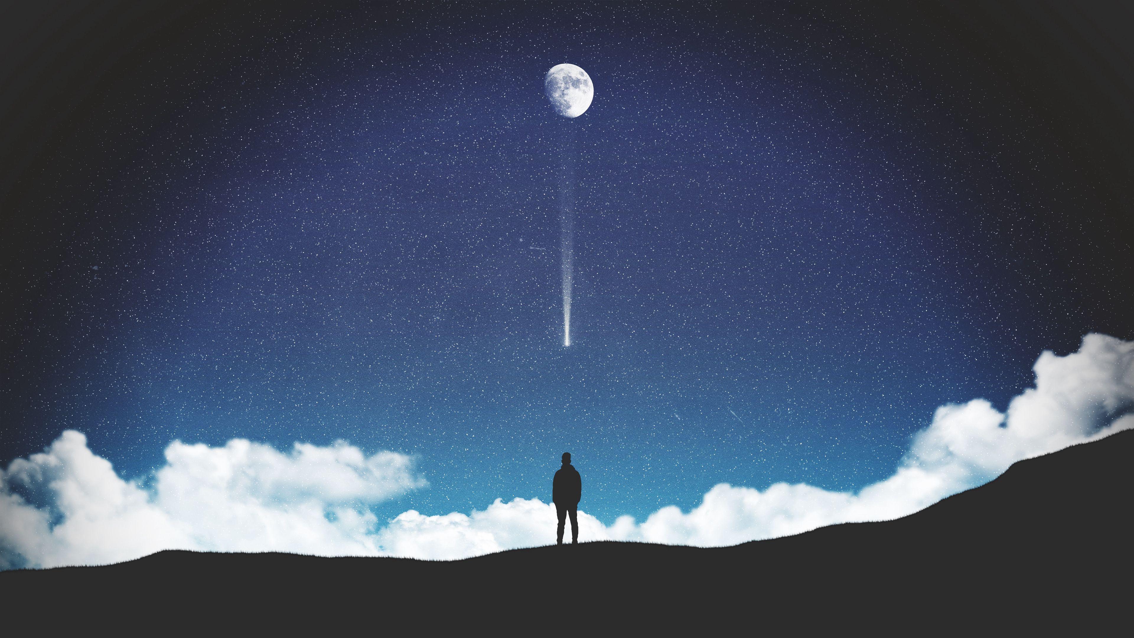 62008 скачать обои Арт, Звезды, Ночь, Луна, Силуэт, Одиночество - заставки и картинки бесплатно
