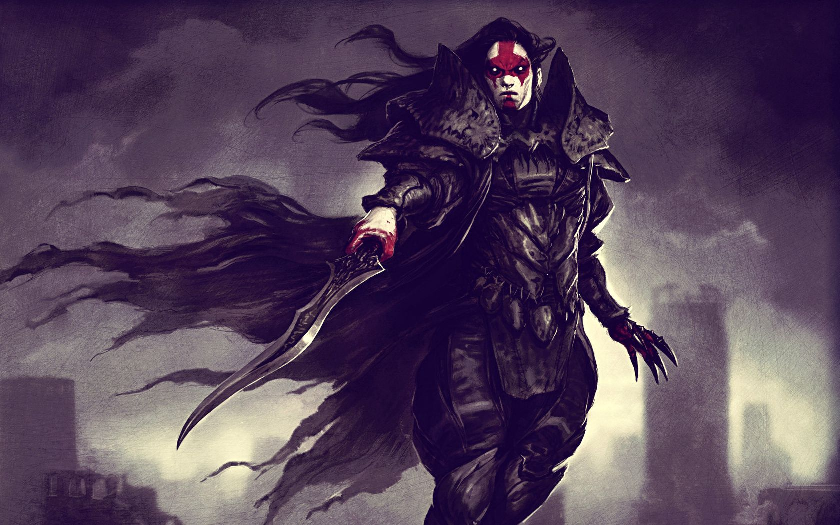 74387 download wallpaper Fantasy, Blood, Warrior, Blade, Armor, Armour, Vampire screensavers and pictures for free