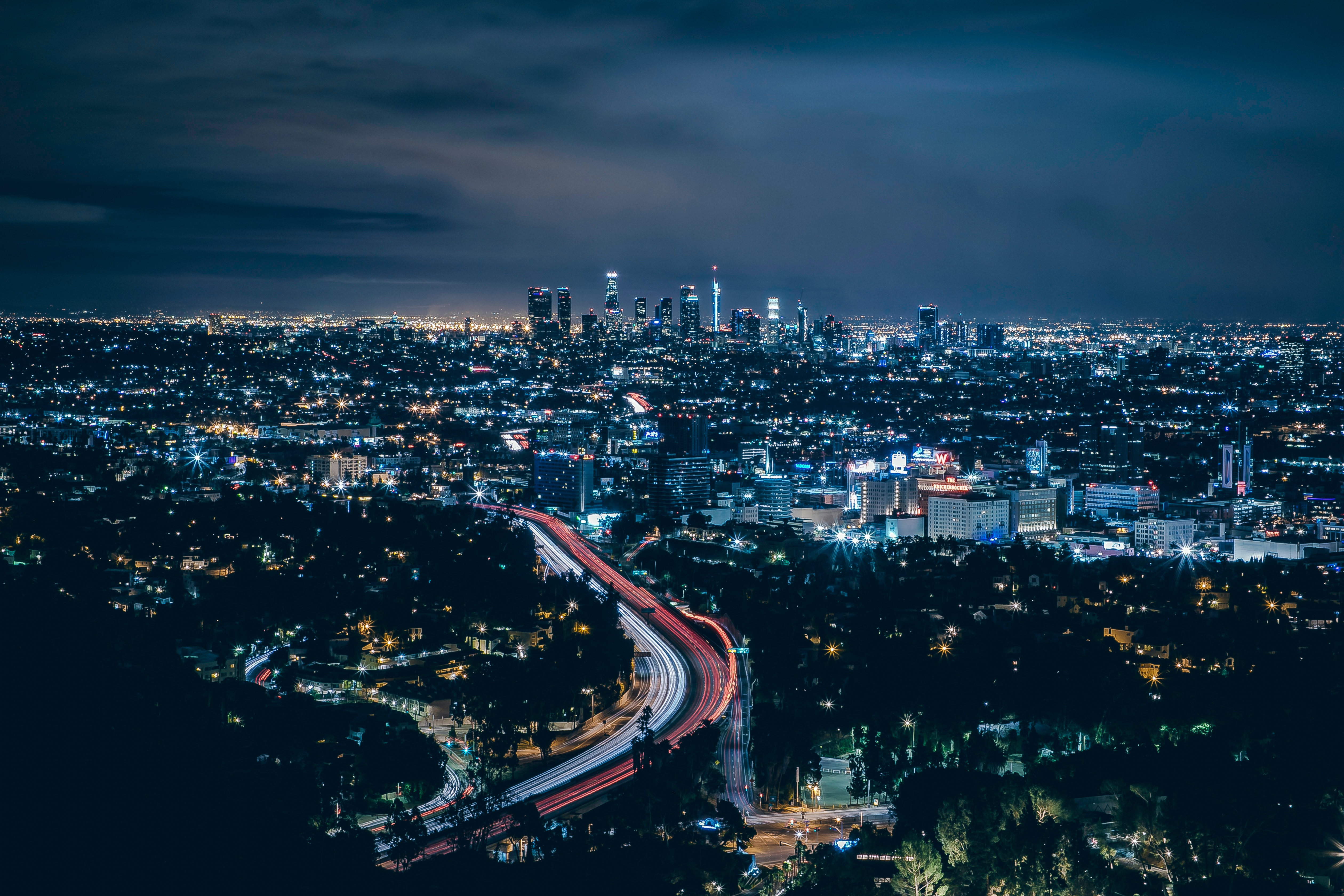 103306 Hintergrundbild 240x400 kostenlos auf deinem Handy, lade Bilder Städte, Übernachtung, Usa, Wolkenkratzer, Blick Von Oben, Los Angeles 240x400 auf dein Handy herunter