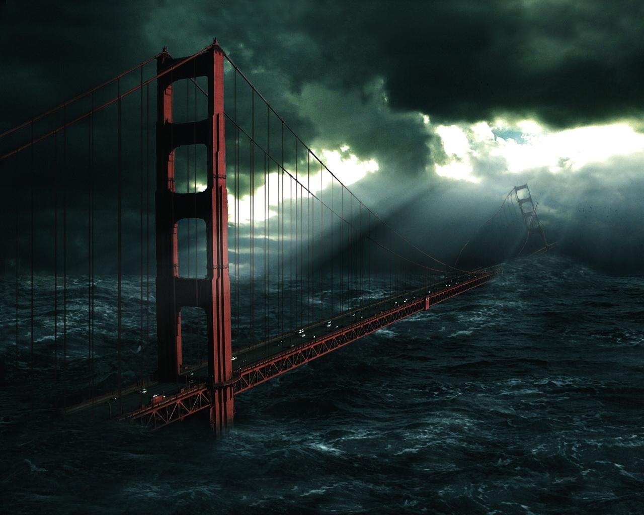 5430 скачать обои Пейзаж, Мосты, Небо, Море - заставки и картинки бесплатно