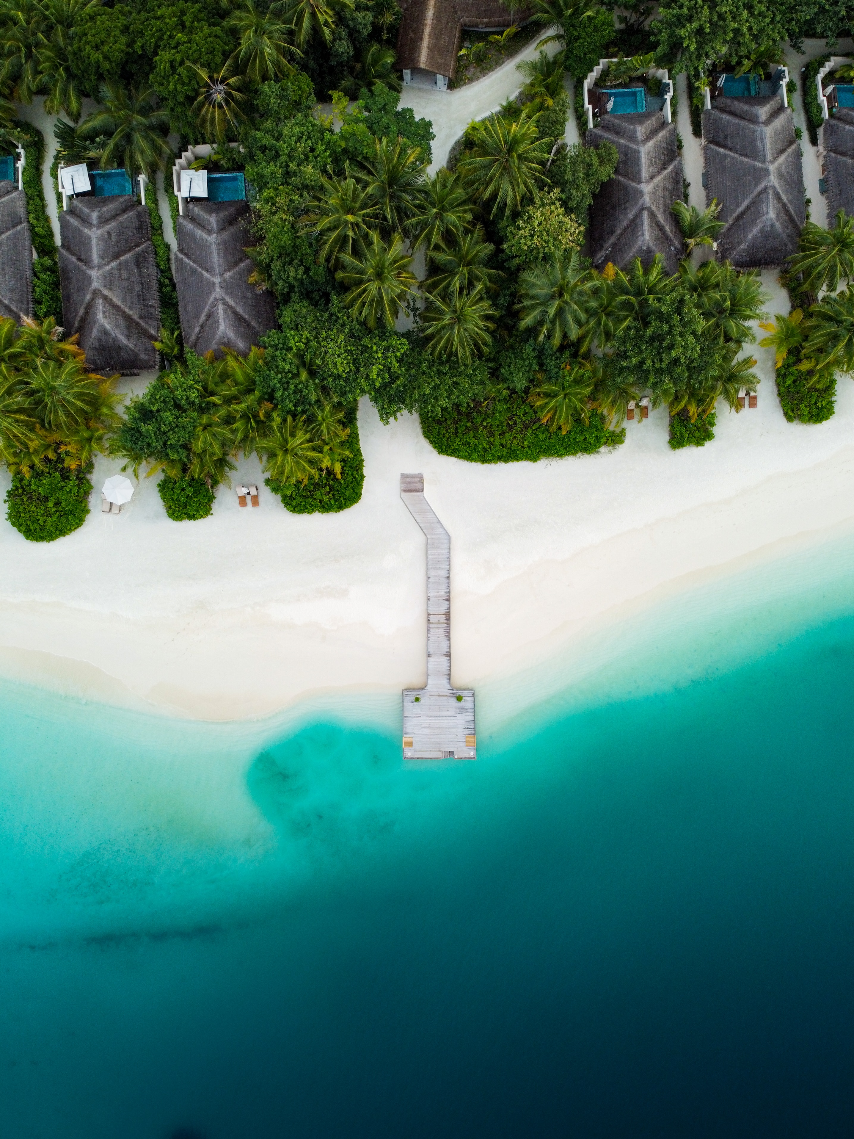 150021 download wallpaper Nature, Beach, Pier, View From Above, Tropics, Palms screensavers and pictures for free